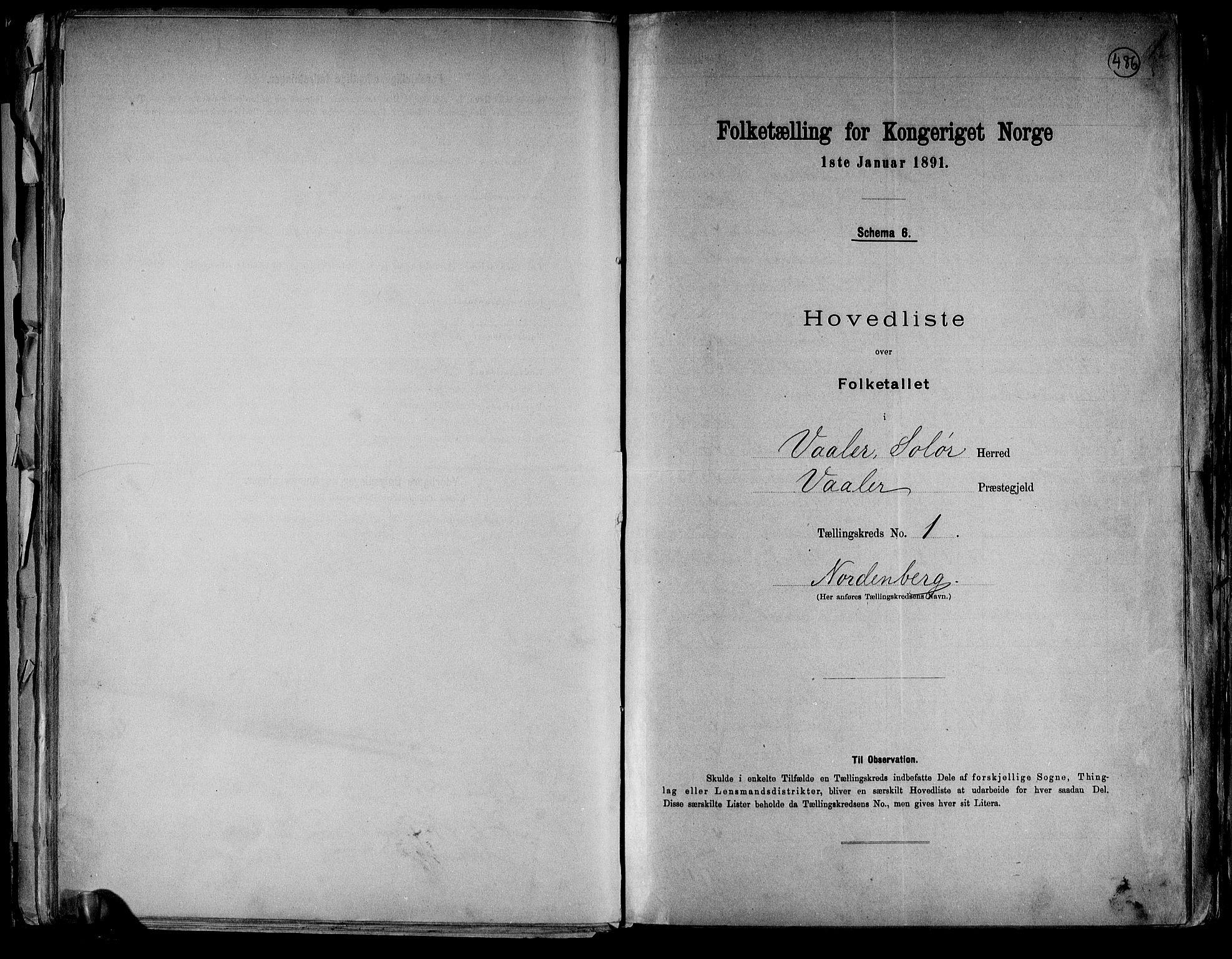 RA, Folketelling 1891 for 0426 Våler herred, 1891, s. 4