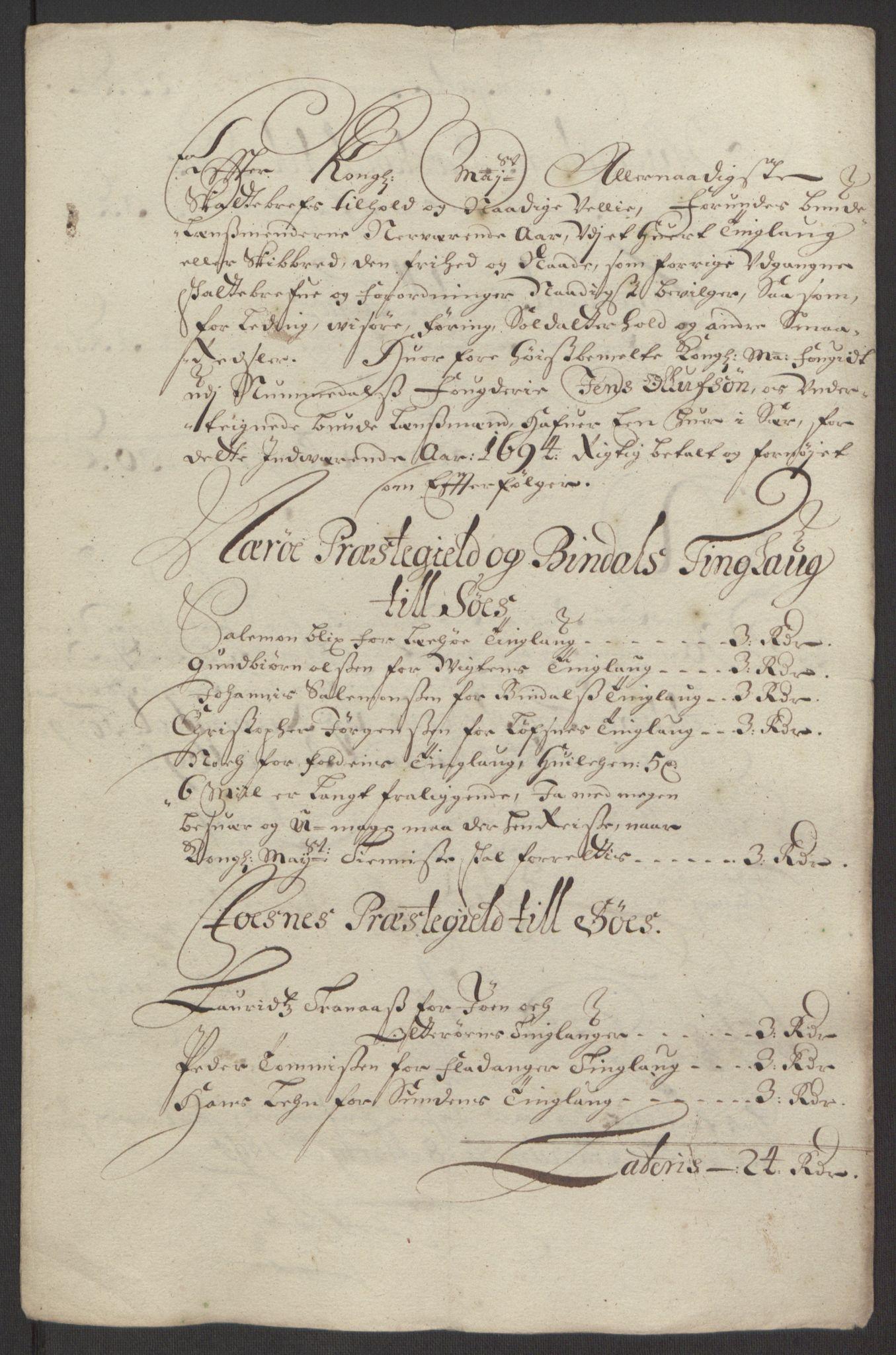 RA, Rentekammeret inntil 1814, Reviderte regnskaper, Fogderegnskap, R64/L4424: Fogderegnskap Namdal, 1692-1695, s. 414