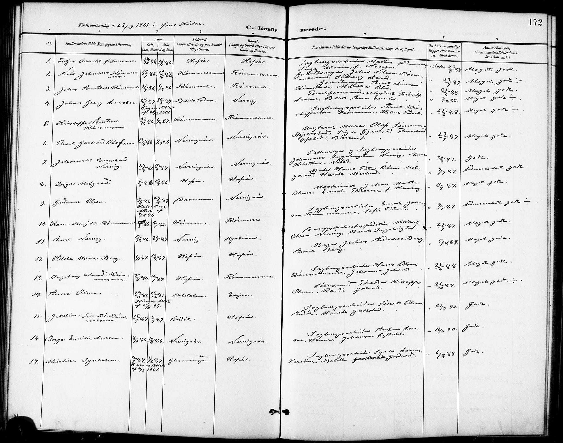 SAT, Ministerialprotokoller, klokkerbøker og fødselsregistre - Sør-Trøndelag, 668/L0819: Klokkerbok nr. 668C08, 1899-1912, s. 172