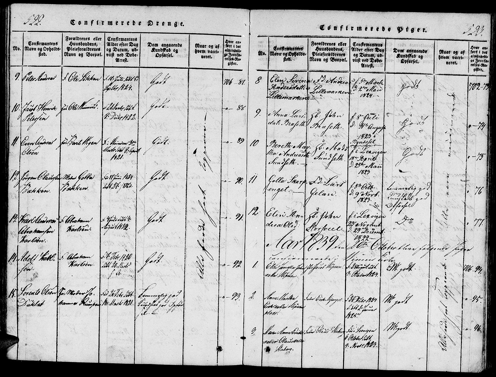 SAT, Ministerialprotokoller, klokkerbøker og fødselsregistre - Nord-Trøndelag, 733/L0322: Ministerialbok nr. 733A01, 1817-1842, s. 522-523