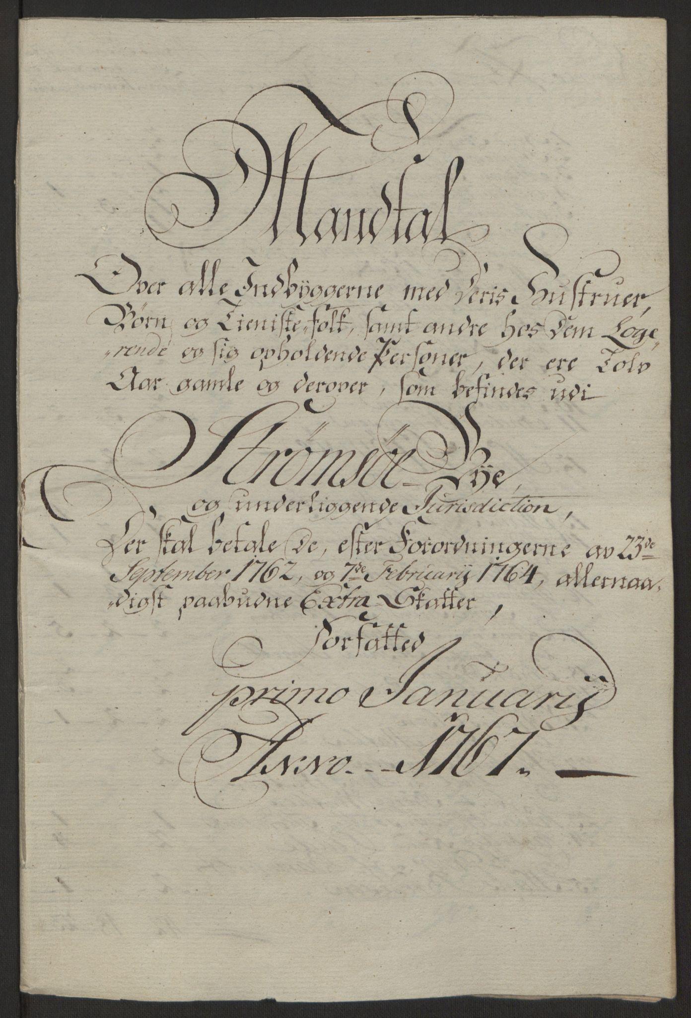 RA, Rentekammeret inntil 1814, Reviderte regnskaper, Byregnskaper, R/Rg/L0144: [G4] Kontribusjonsregnskap, 1762-1767, s. 492