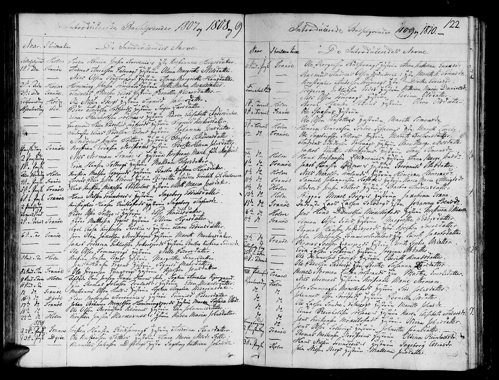 SATØ, Tranøy sokneprestkontor, I/Ia/Iaa/L0003kirke: Ministerialbok nr. 3, 1807-1820, s. 122