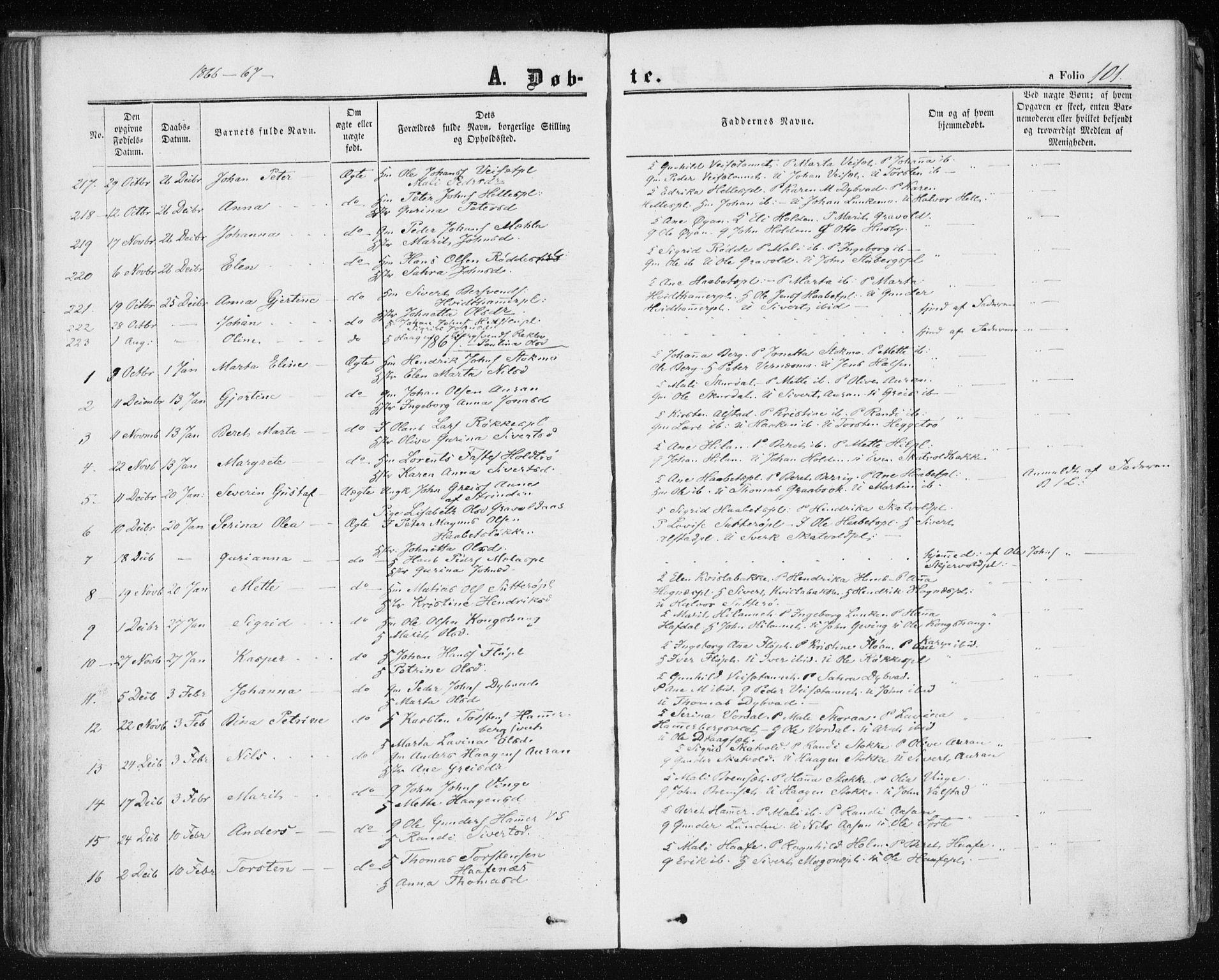 SAT, Ministerialprotokoller, klokkerbøker og fødselsregistre - Nord-Trøndelag, 709/L0075: Ministerialbok nr. 709A15, 1859-1870, s. 101