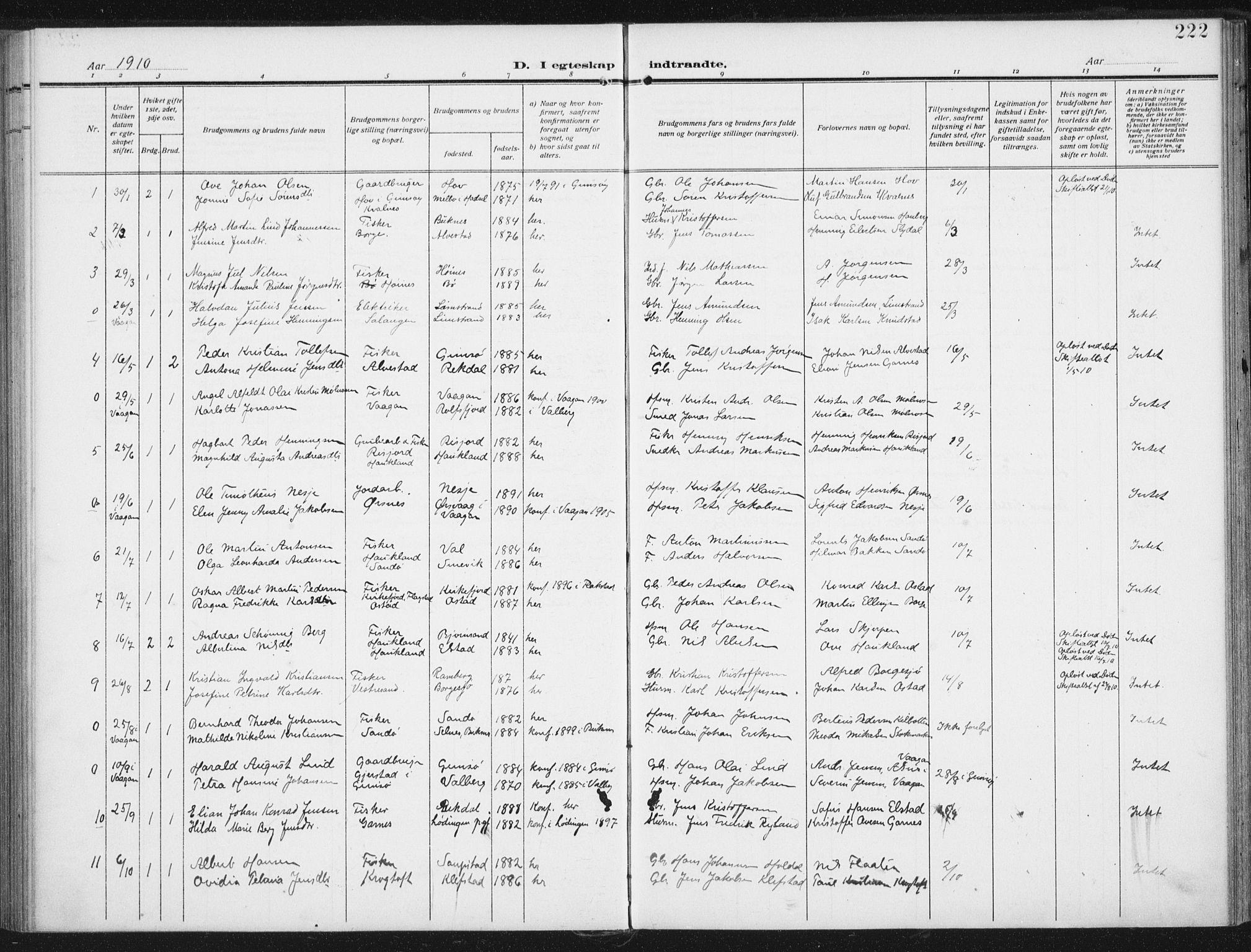 SAT, Ministerialprotokoller, klokkerbøker og fødselsregistre - Nordland, 880/L1135: Ministerialbok nr. 880A09, 1908-1919, s. 222