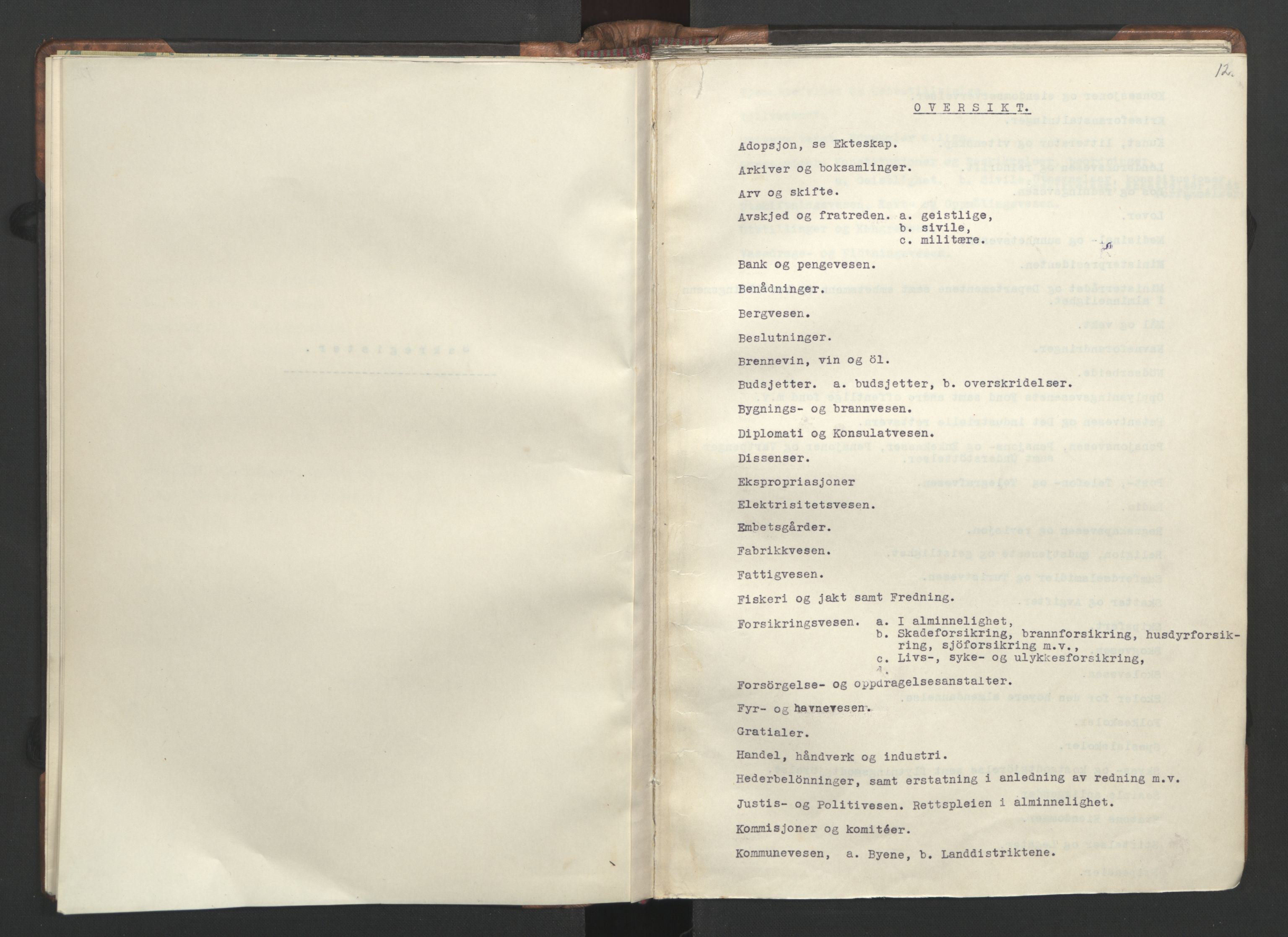 RA, NS-administrasjonen 1940-1945 (Statsrådsekretariatet, de kommisariske statsråder mm), D/Da/L0002: Register (RA j.nr. 985/1943, tilgangsnr. 17/1943), 1942, s. 11b-12a