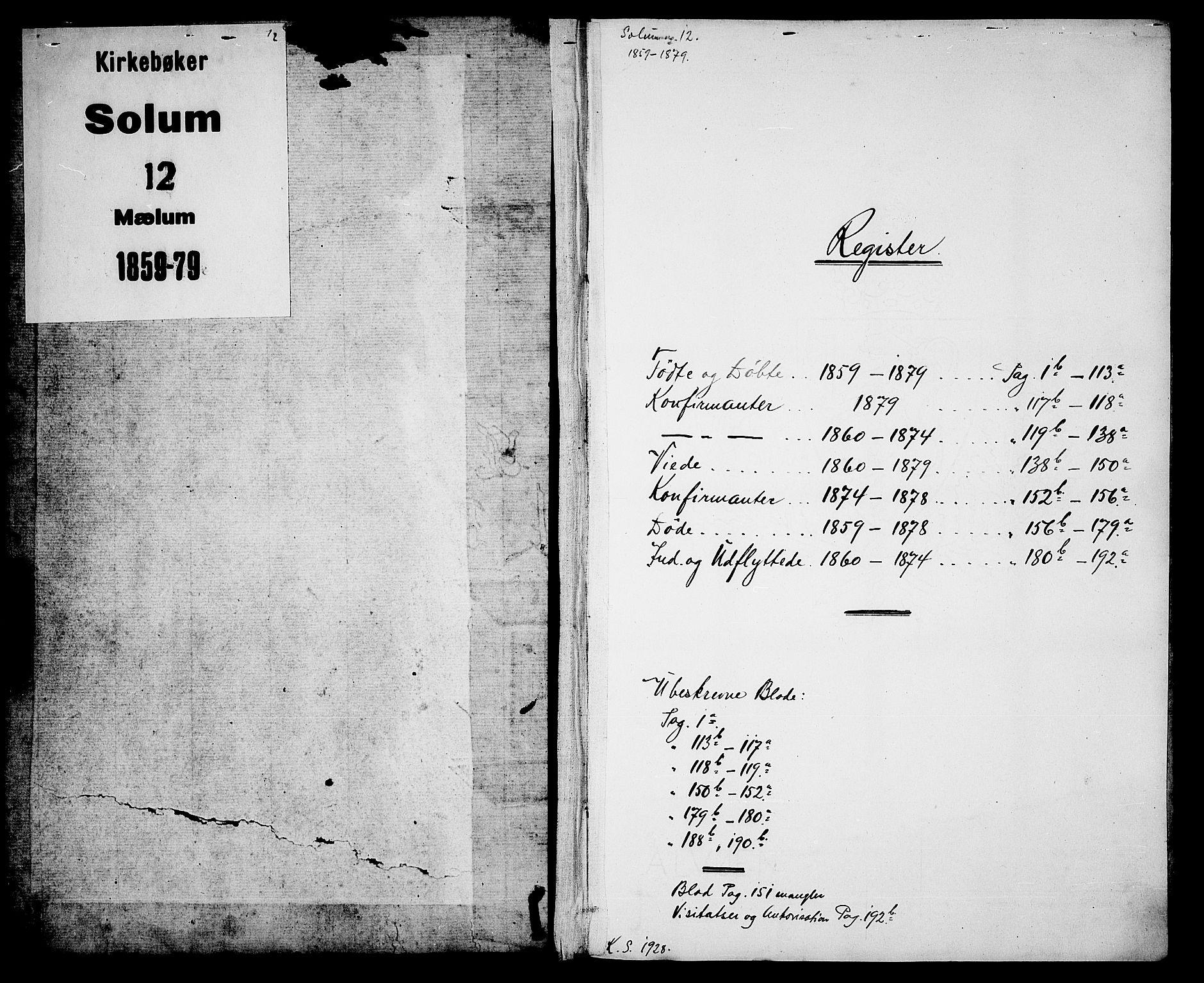 SAKO, Solum kirkebøker, G/Gb/L0002: Klokkerbok nr. II 2, 1859-1879