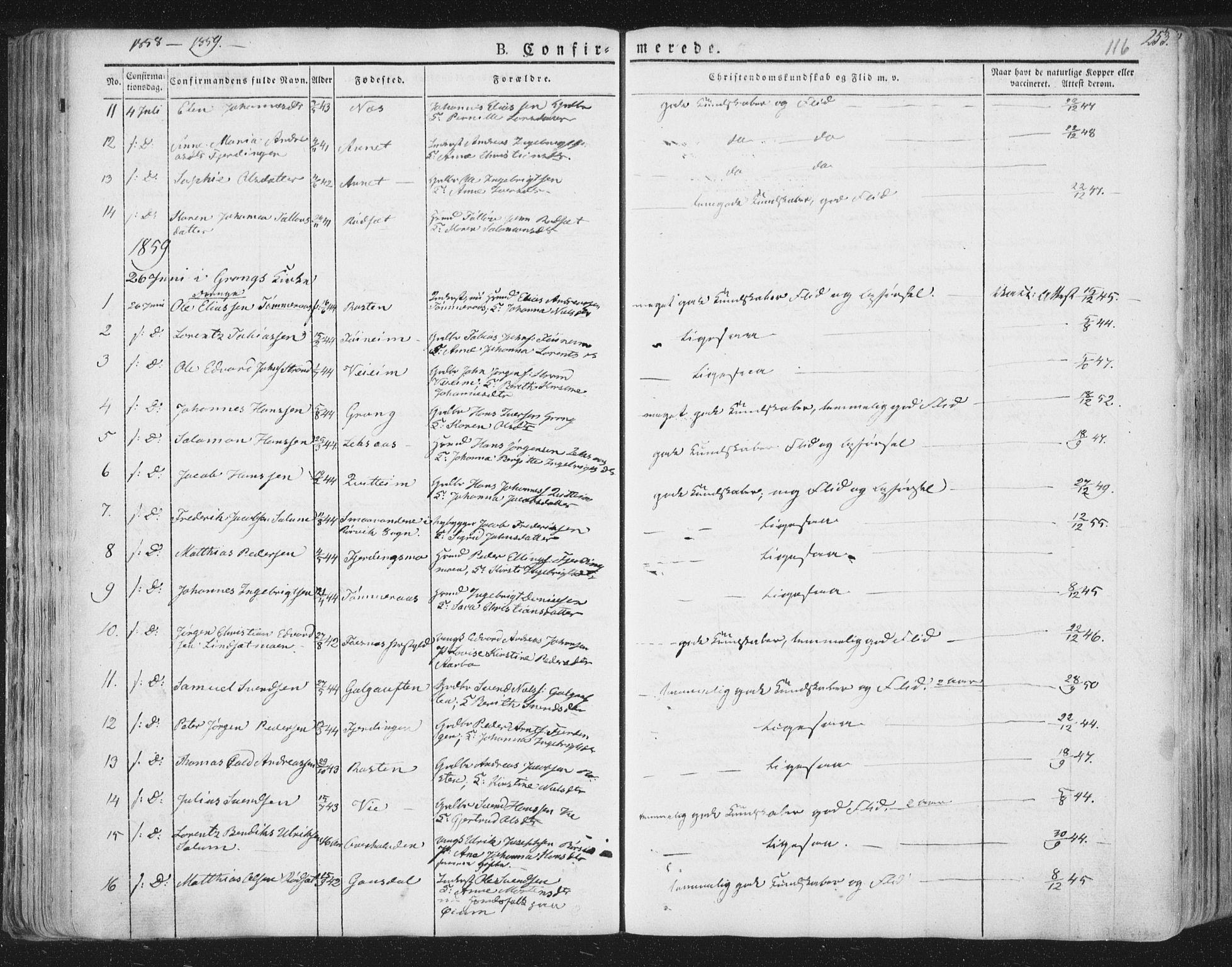 SAT, Ministerialprotokoller, klokkerbøker og fødselsregistre - Nord-Trøndelag, 758/L0513: Ministerialbok nr. 758A02 /1, 1839-1868, s. 116