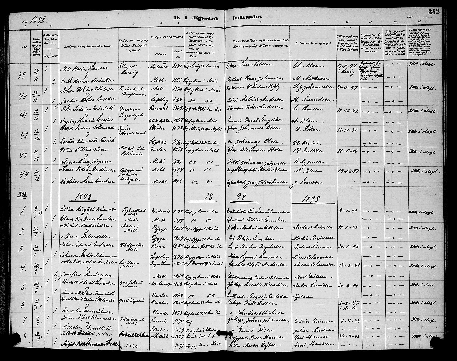 SAO, Moss prestekontor Kirkebøker, G/Ga/L0006: Klokkerbok nr. I 6, 1889-1900, s. 342