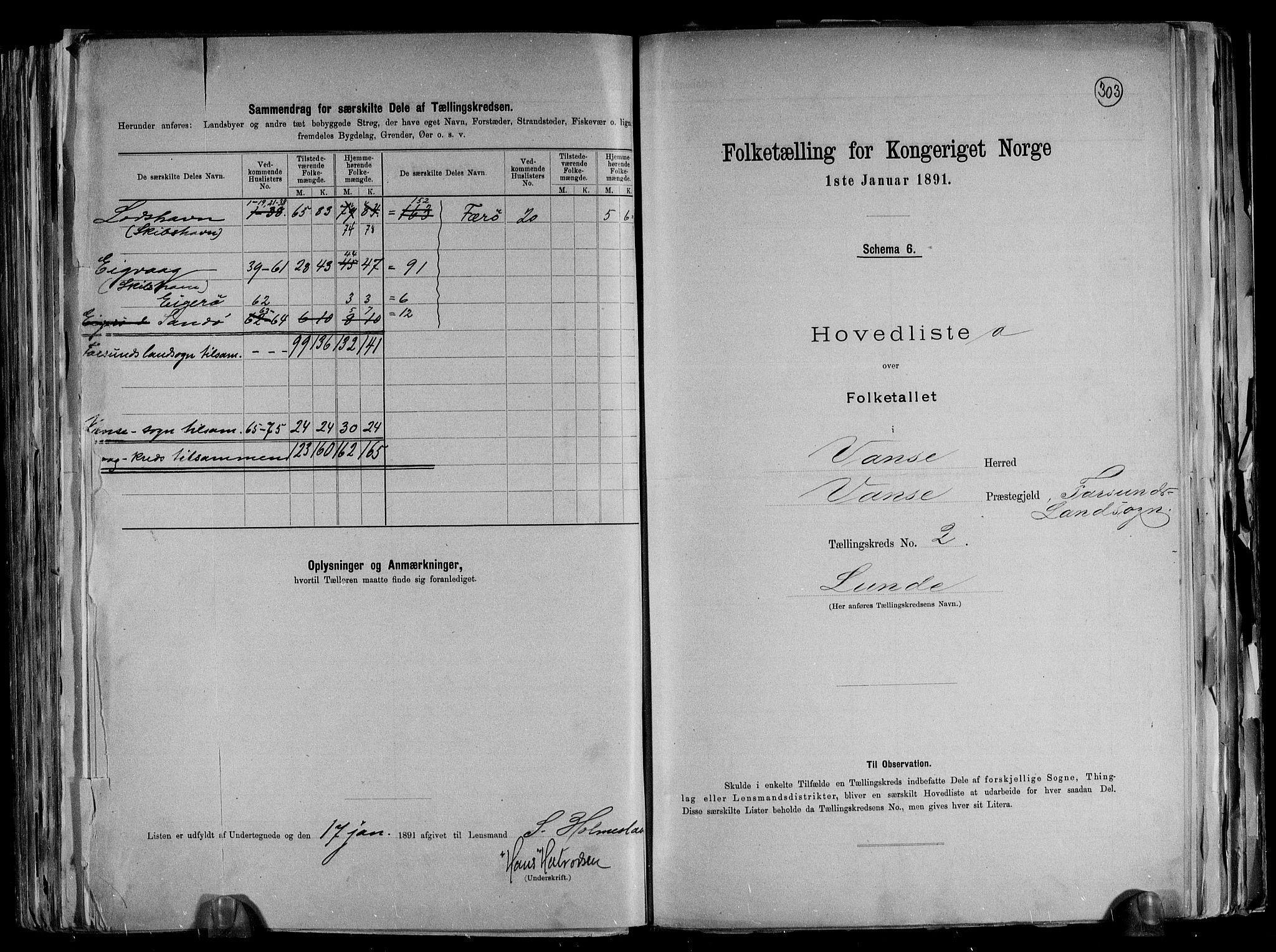 RA, Folketelling 1891 for 1041 Vanse herred, 1891, s. 10