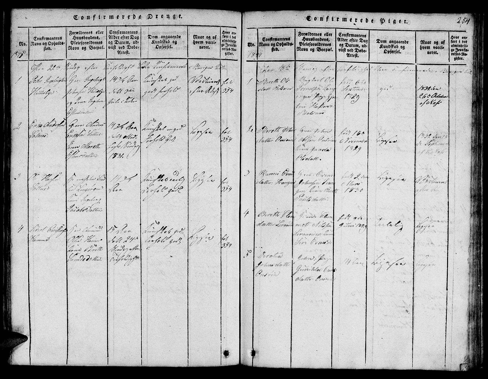 SAT, Ministerialprotokoller, klokkerbøker og fødselsregistre - Sør-Trøndelag, 666/L0788: Klokkerbok nr. 666C01, 1816-1847, s. 254