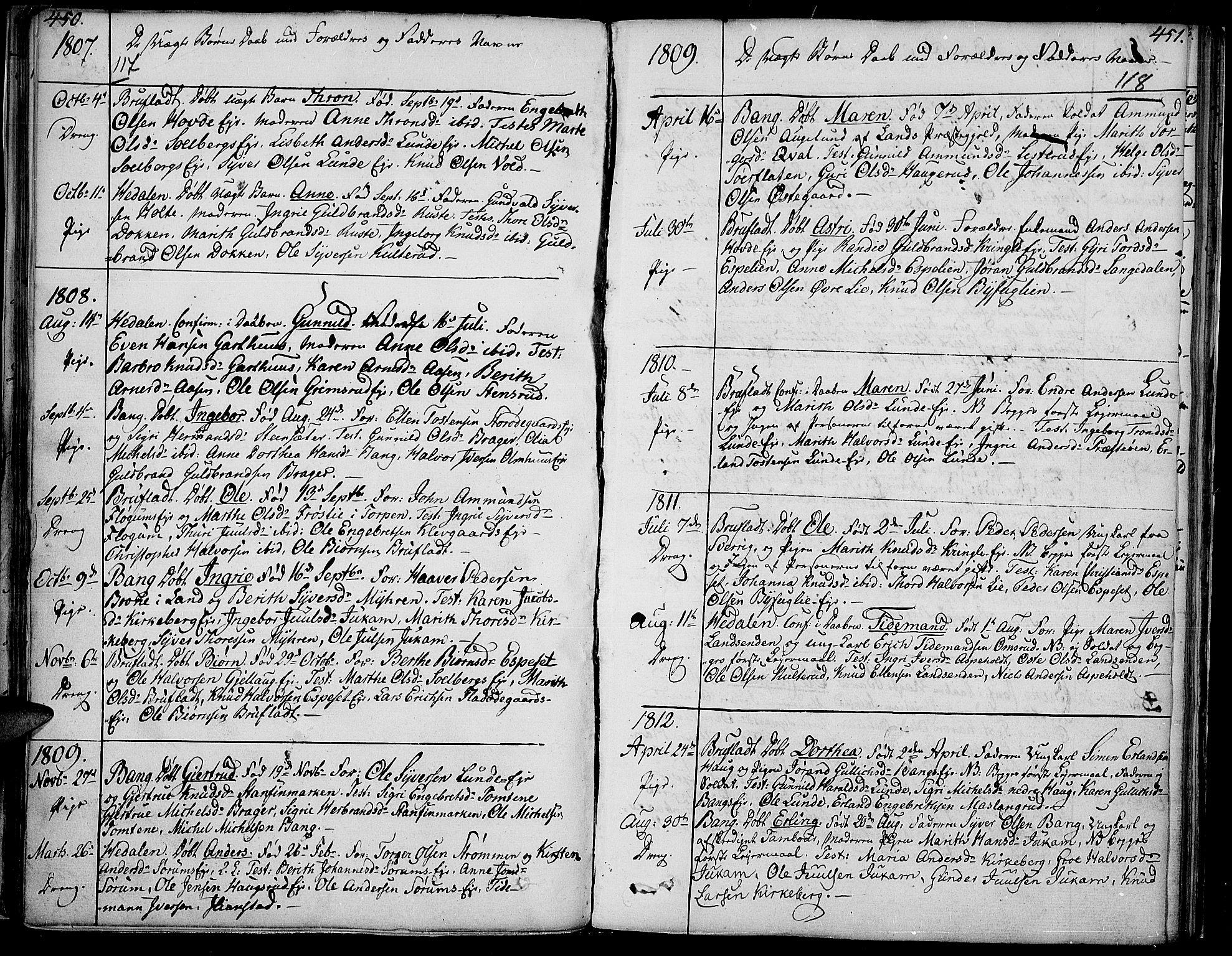 SAH, Sør-Aurdal prestekontor, Ministerialbok nr. 1, 1807-1815, s. 117-118