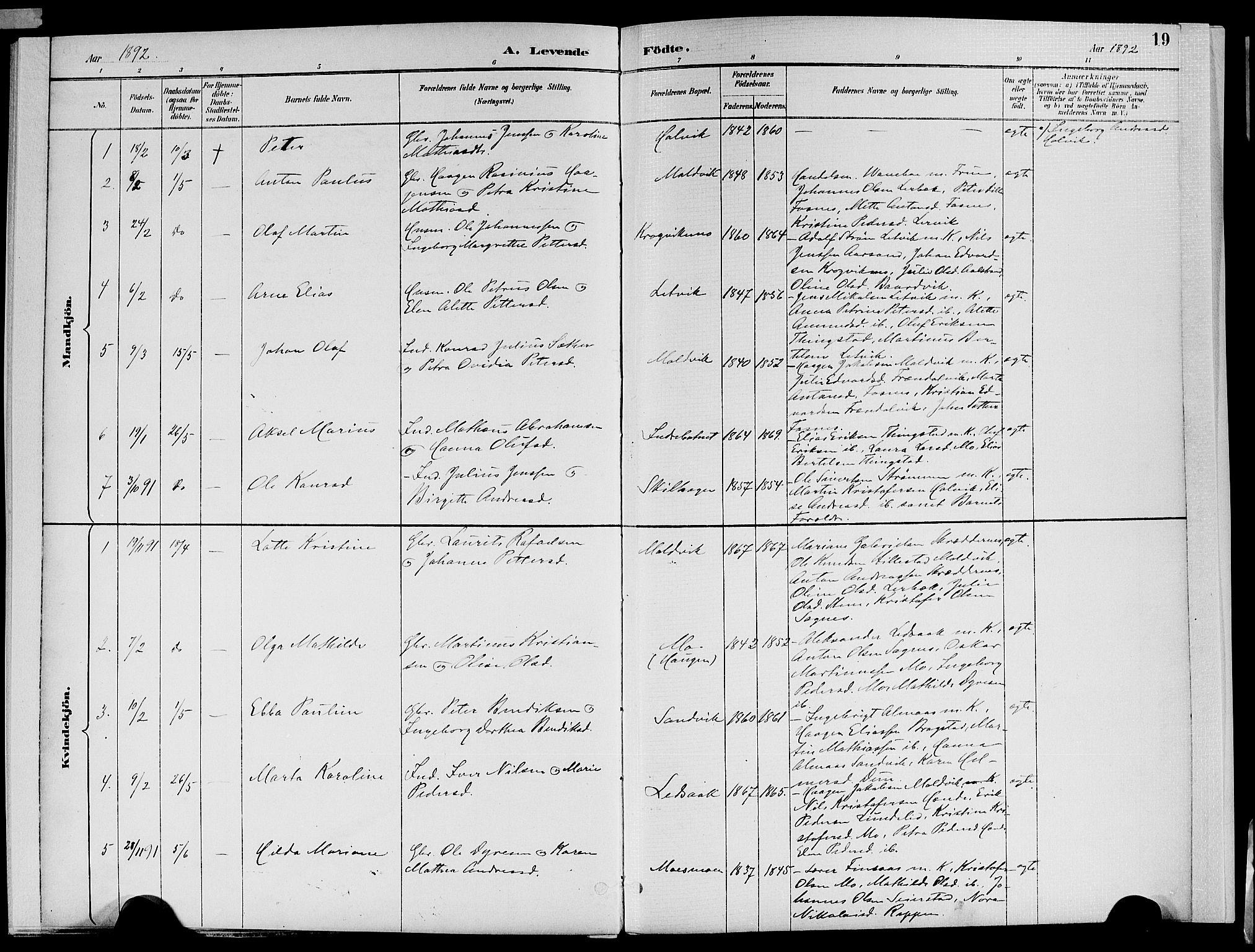 SAT, Ministerialprotokoller, klokkerbøker og fødselsregistre - Nord-Trøndelag, 773/L0617: Ministerialbok nr. 773A08, 1887-1910, s. 19
