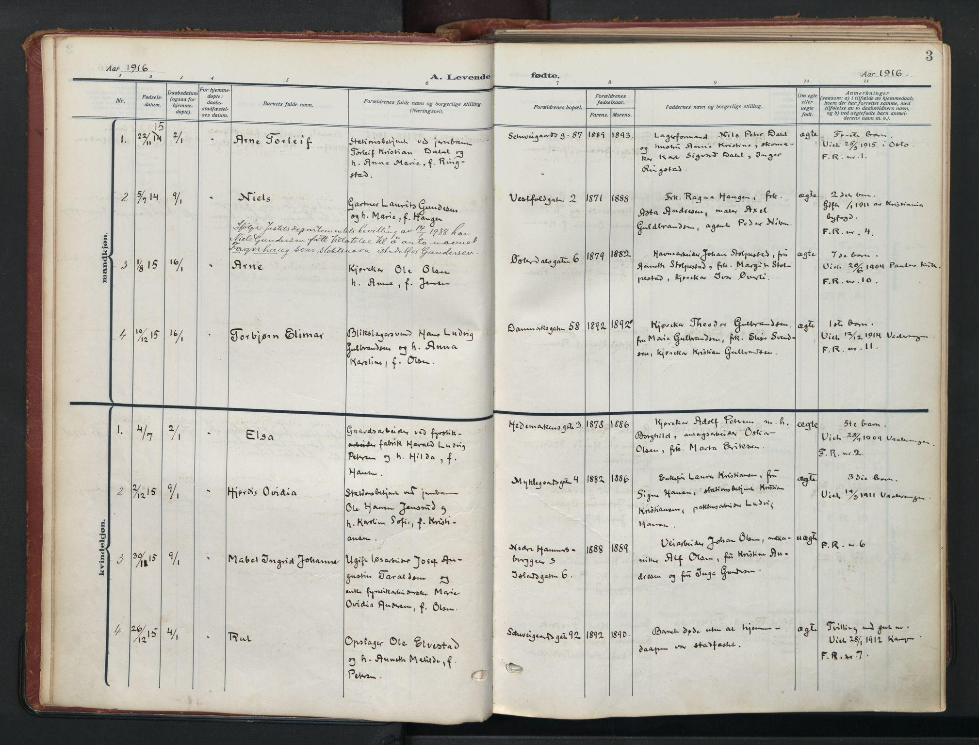 SAO, Vålerengen prestekontor Kirkebøker, F/Fa/L0004: Ministerialbok nr. 4, 1915-1929, s. 3