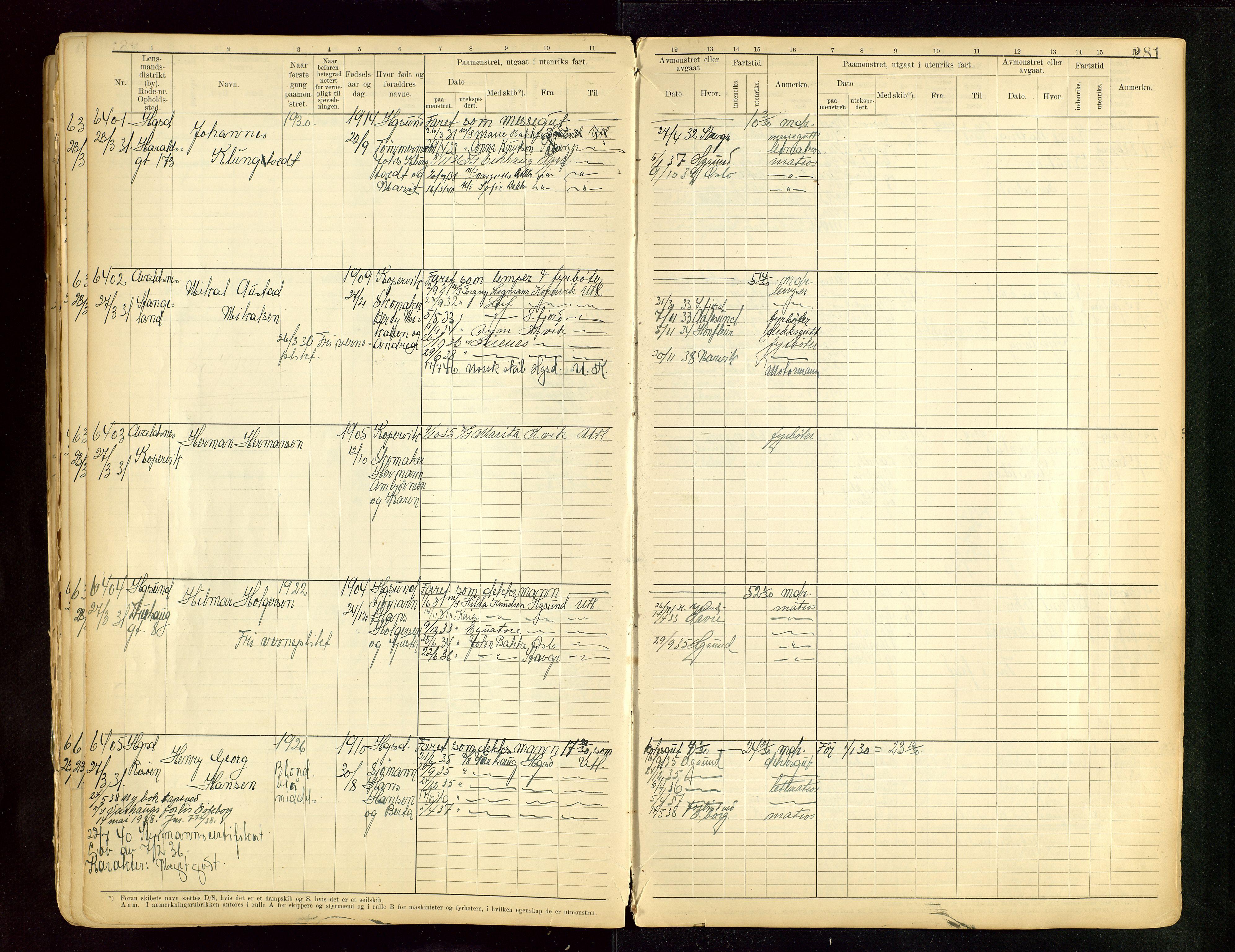 SAST, Haugesund sjømannskontor, F/Fb/Fbb/L0015: Sjøfartsrulle A Haugesund krets I nr 5001-8970, 1912-1948, s. 281