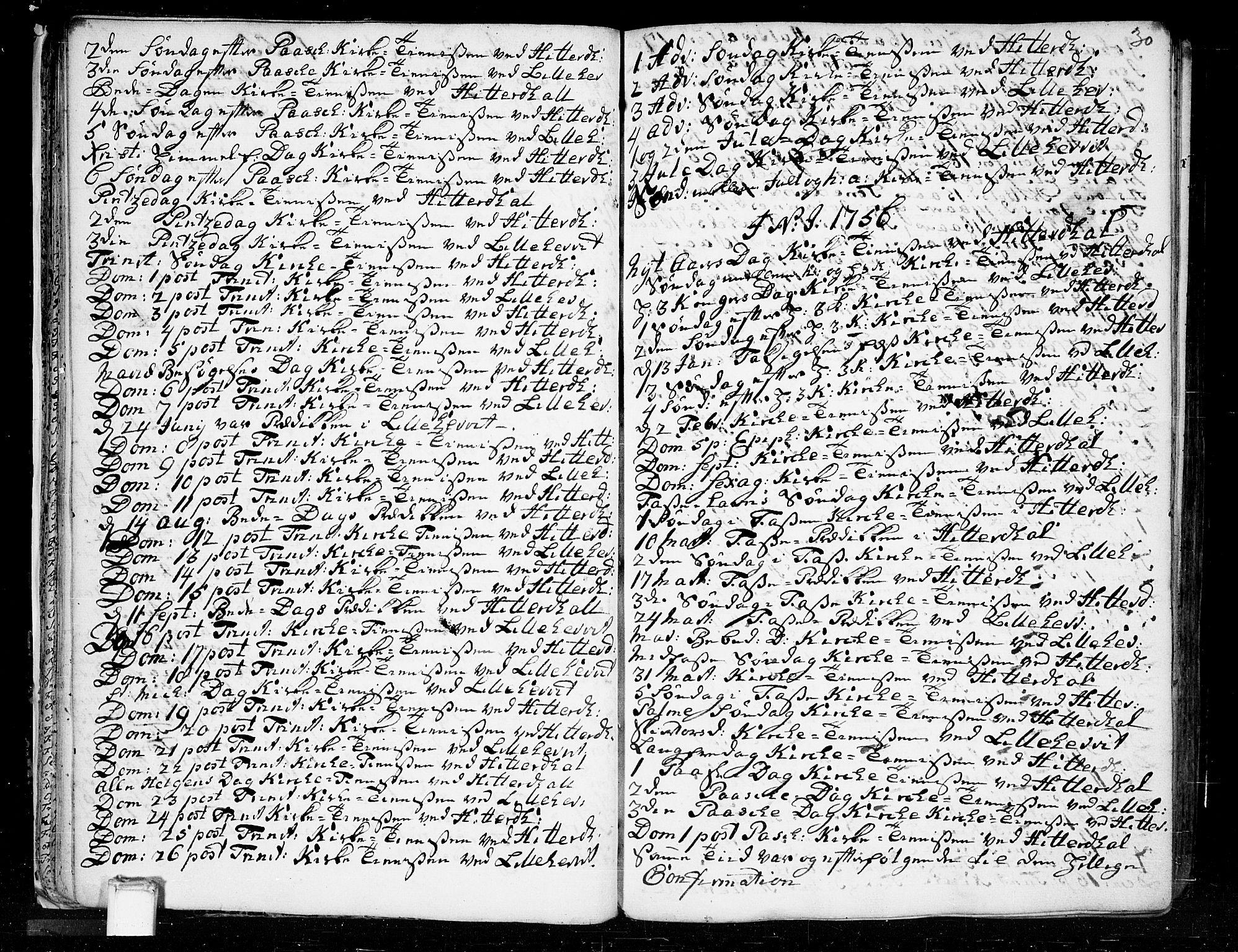 SAKO, Heddal kirkebøker, F/Fa/L0003: Ministerialbok nr. I 3, 1723-1783, s. 30
