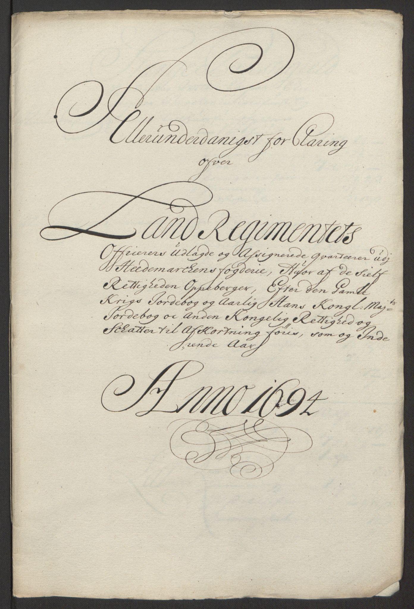 RA, Rentekammeret inntil 1814, Reviderte regnskaper, Fogderegnskap, R16/L1035: Fogderegnskap Hedmark, 1694, s. 137