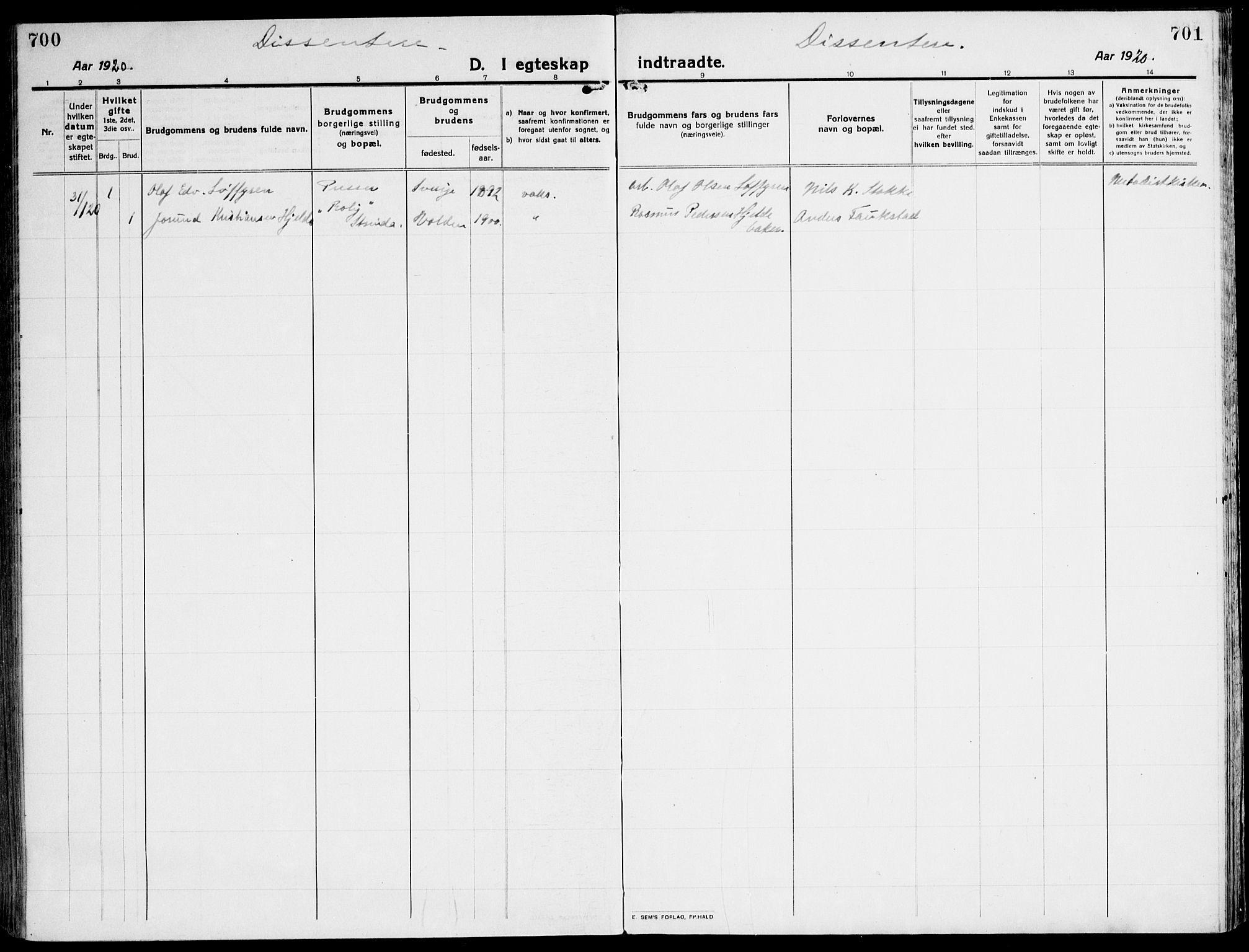 SAT, Ministerialprotokoller, klokkerbøker og fødselsregistre - Sør-Trøndelag, 607/L0321: Ministerialbok nr. 607A05, 1916-1935, s. 700-701