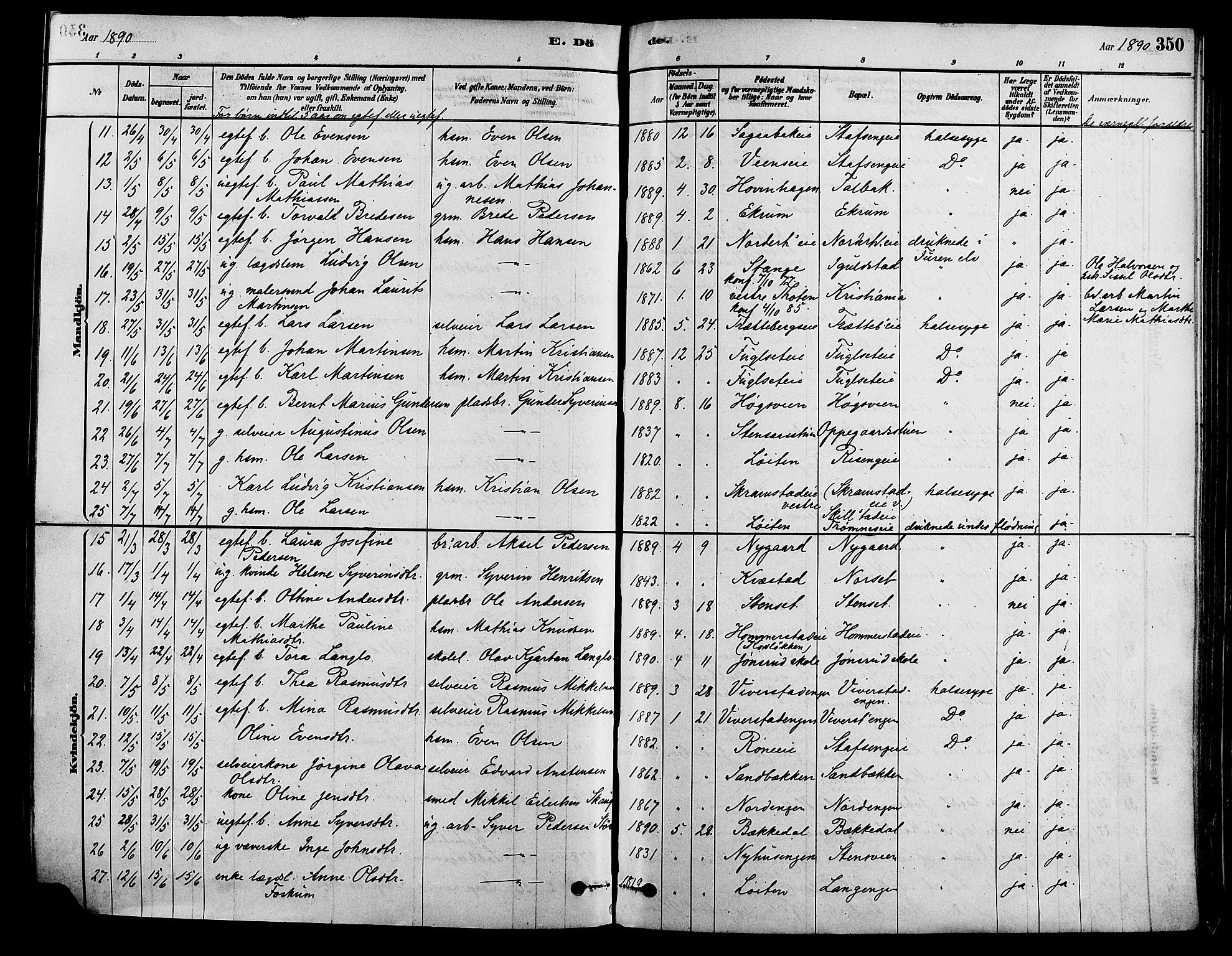 SAH, Løten prestekontor, K/Ka/L0009: Ministerialbok nr. 9, 1878-1891, s. 350