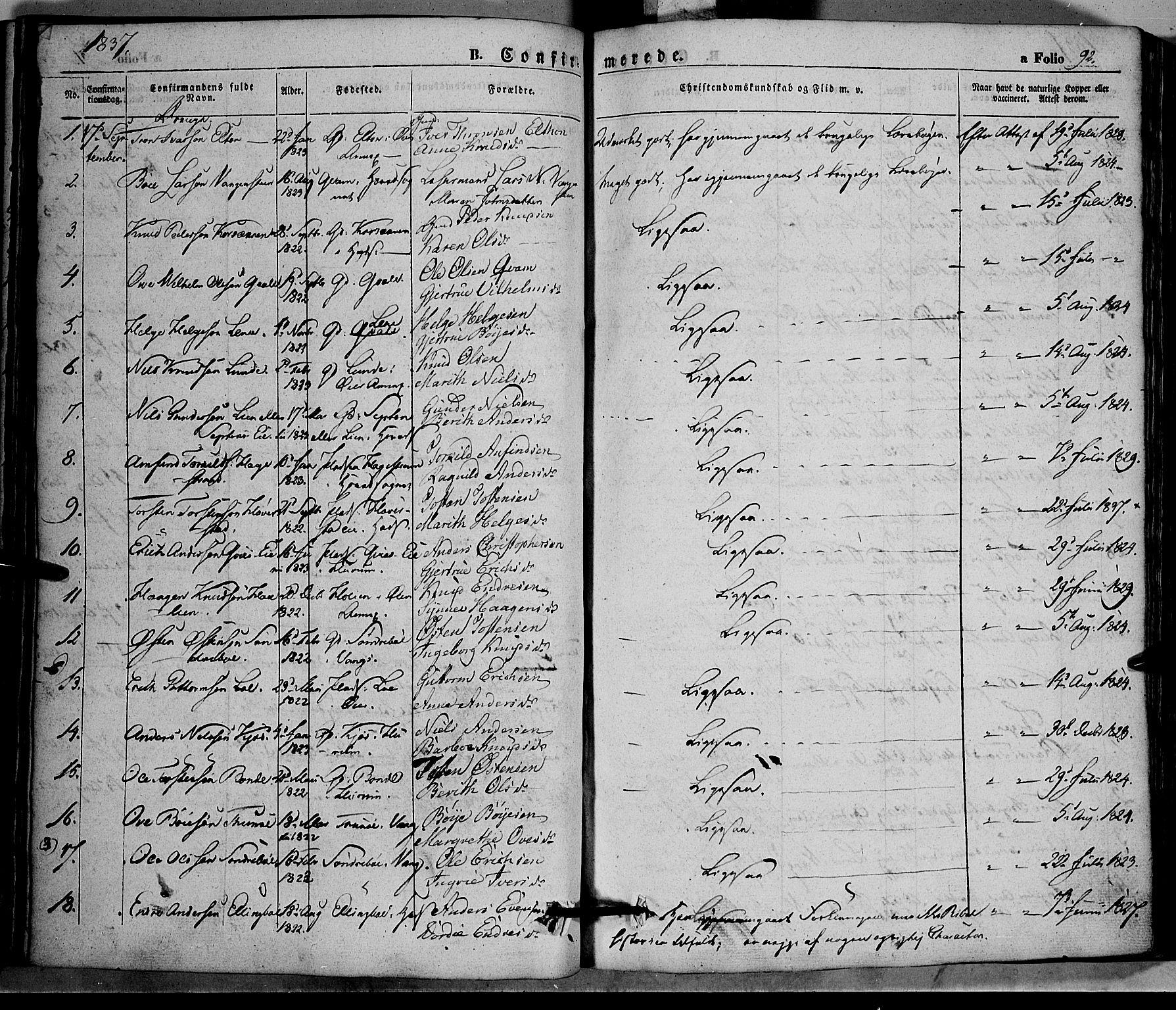 SAH, Vang prestekontor, Valdres, Ministerialbok nr. 5, 1831-1845, s. 92