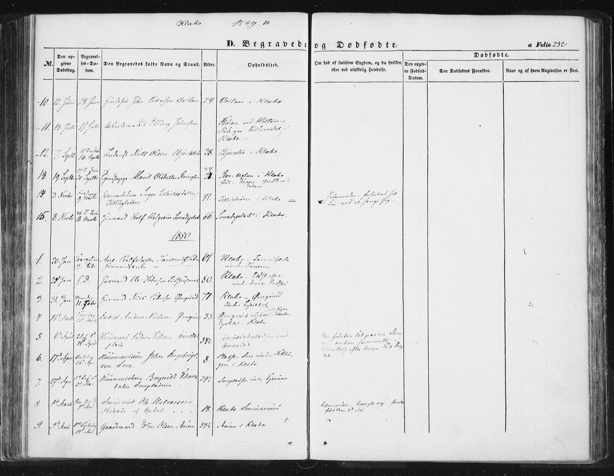 SAT, Ministerialprotokoller, klokkerbøker og fødselsregistre - Sør-Trøndelag, 618/L0441: Ministerialbok nr. 618A05, 1843-1862, s. 232