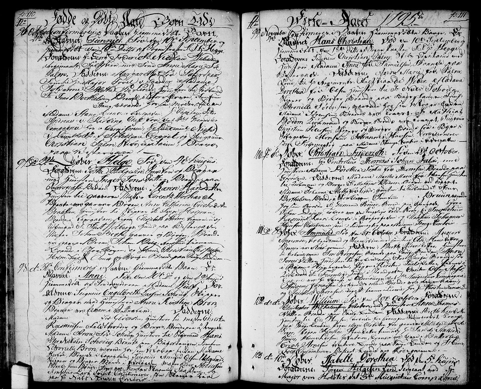 SAO, Halden prestekontor Kirkebøker, F/Fa/L0002: Ministerialbok nr. I 2, 1792-1812, s. 110-111