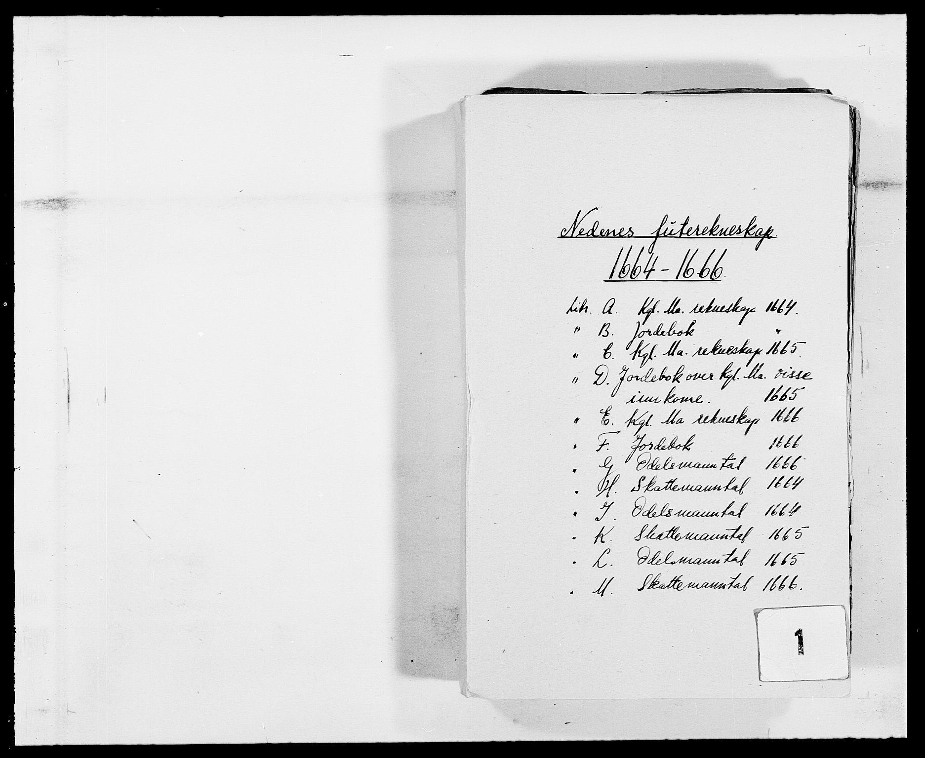 RA, Rentekammeret inntil 1814, Reviderte regnskaper, Fogderegnskap, R39/L2296: Fogderegnskap Nedenes, 1664-1666, s. 1