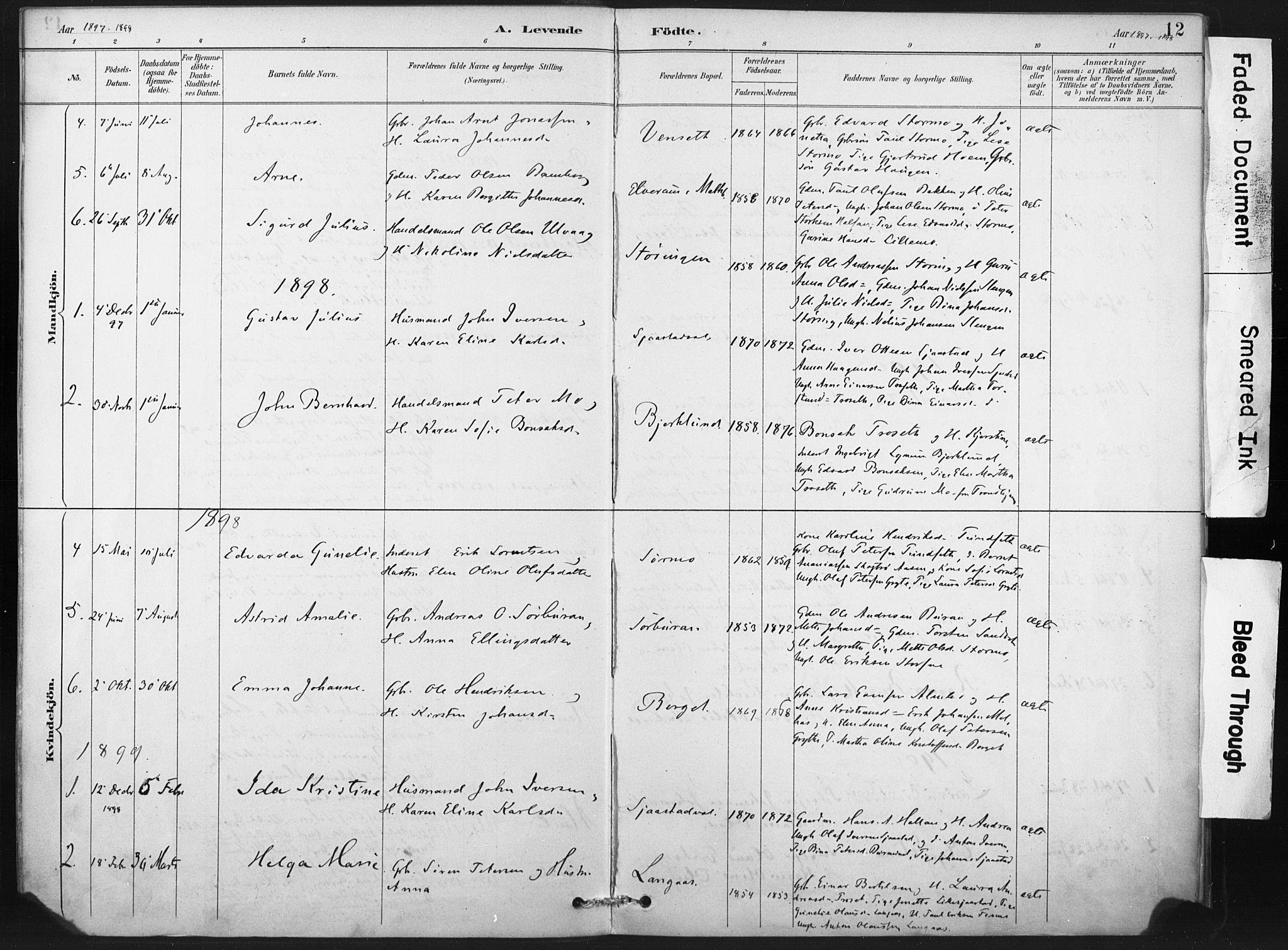 SAT, Ministerialprotokoller, klokkerbøker og fødselsregistre - Nord-Trøndelag, 718/L0175: Ministerialbok nr. 718A01, 1890-1923, s. 12