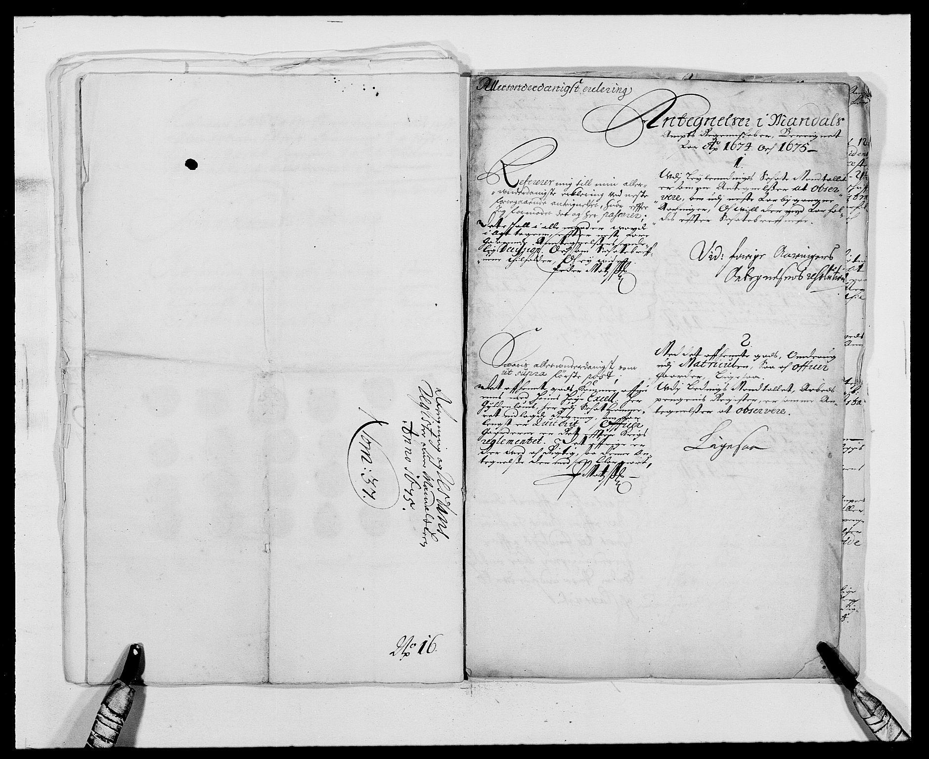 RA, Rentekammeret inntil 1814, Reviderte regnskaper, Fogderegnskap, R42/L2539: Mandal fogderi, 1671-1675, s. 337
