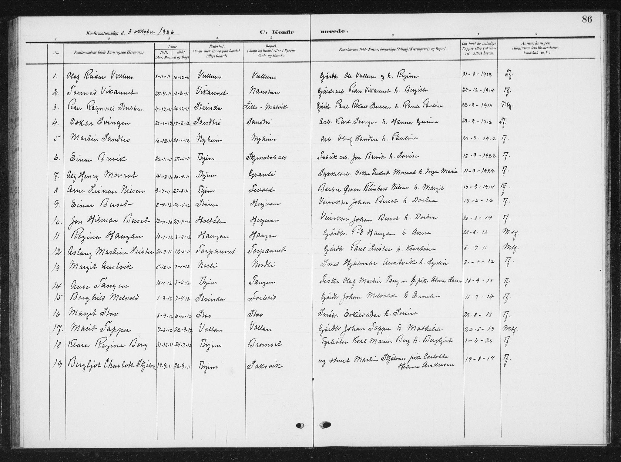 SAT, Ministerialprotokoller, klokkerbøker og fødselsregistre - Sør-Trøndelag, 616/L0424: Klokkerbok nr. 616C07, 1904-1940, s. 86