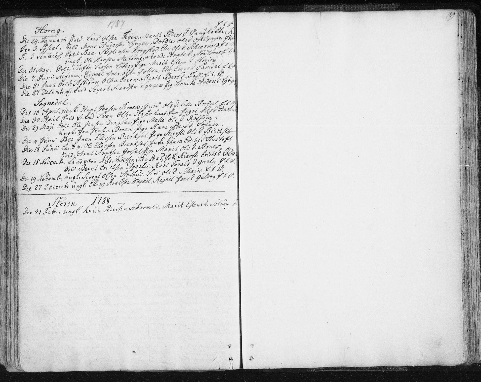 SAT, Ministerialprotokoller, klokkerbøker og fødselsregistre - Sør-Trøndelag, 687/L0991: Ministerialbok nr. 687A02, 1747-1790, s. 189