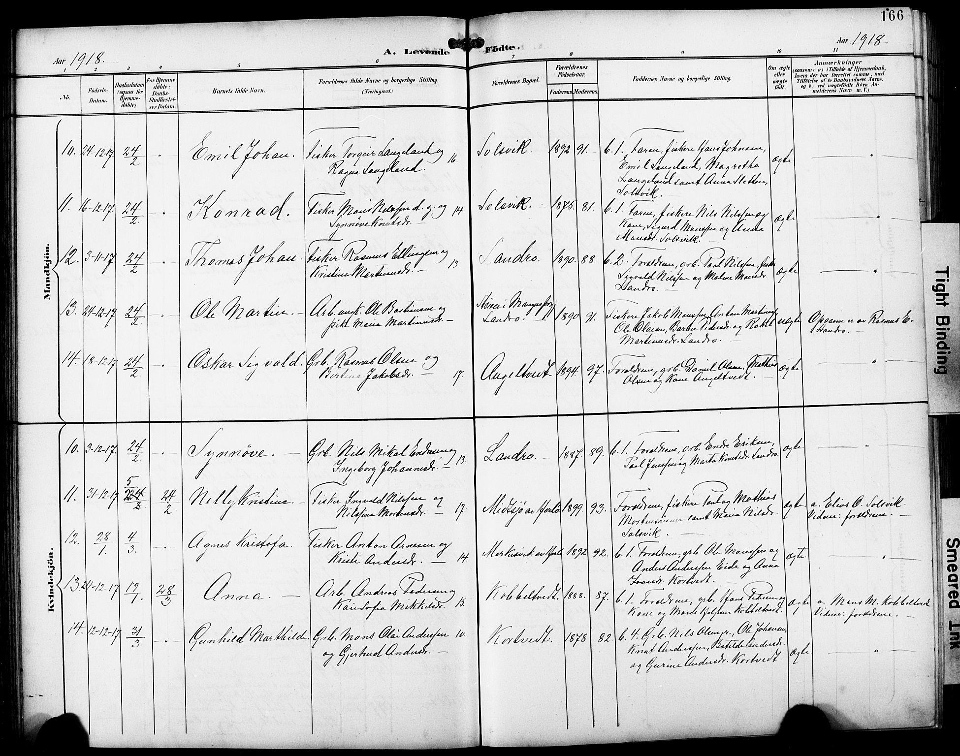 SAB, Fjell Sokneprestembete, H/Hab: Klokkerbok nr. A 5, 1899-1918, s. 166