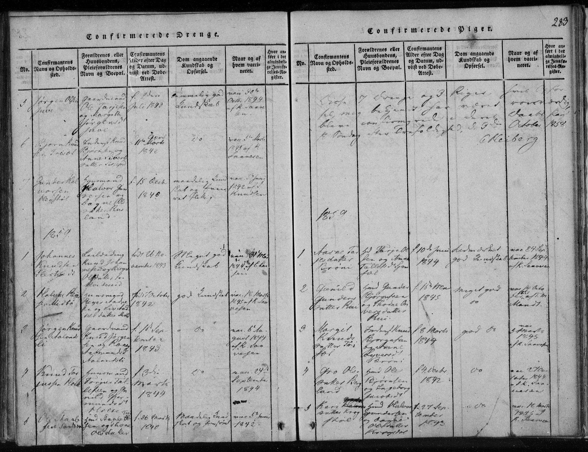 SAKO, Lårdal kirkebøker, F/Fa/L0005: Ministerialbok nr. I 5, 1815-1860, s. 283