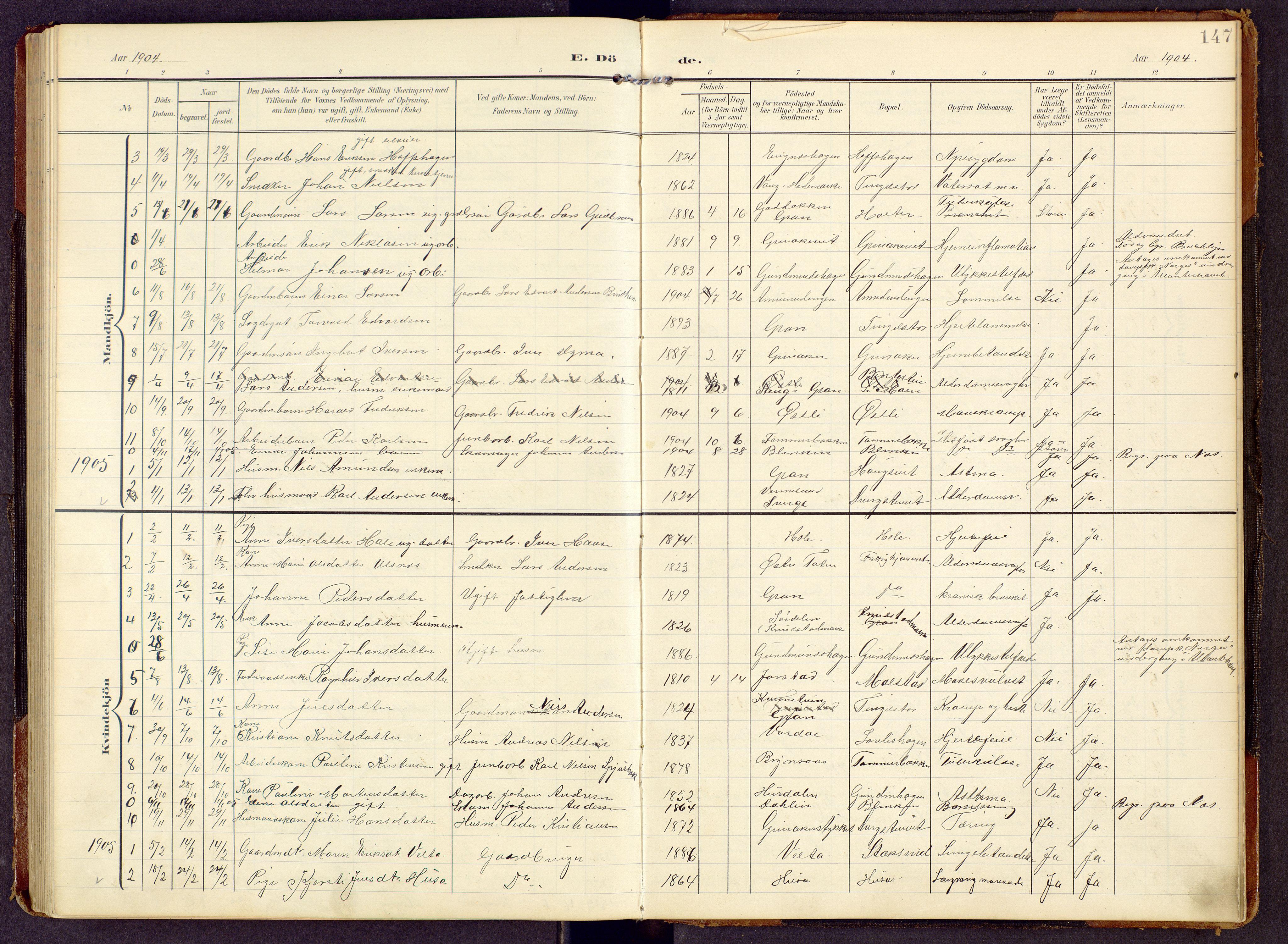 SAH, Brandbu prestekontor, Klokkerbok nr. 9, 1903-1916, s. 147