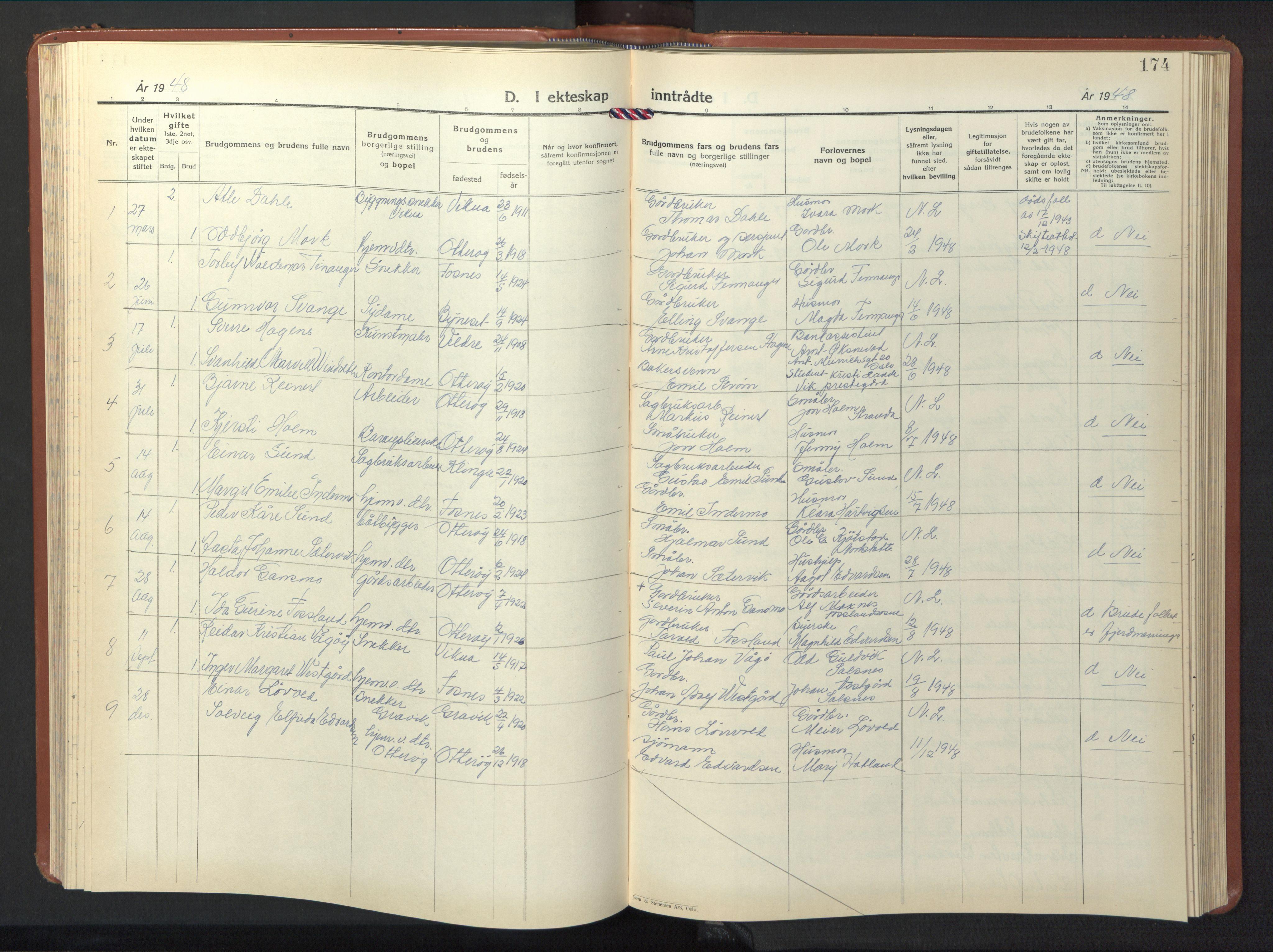 SAT, Ministerialprotokoller, klokkerbøker og fødselsregistre - Nord-Trøndelag, 774/L0631: Klokkerbok nr. 774C02, 1934-1950, s. 174