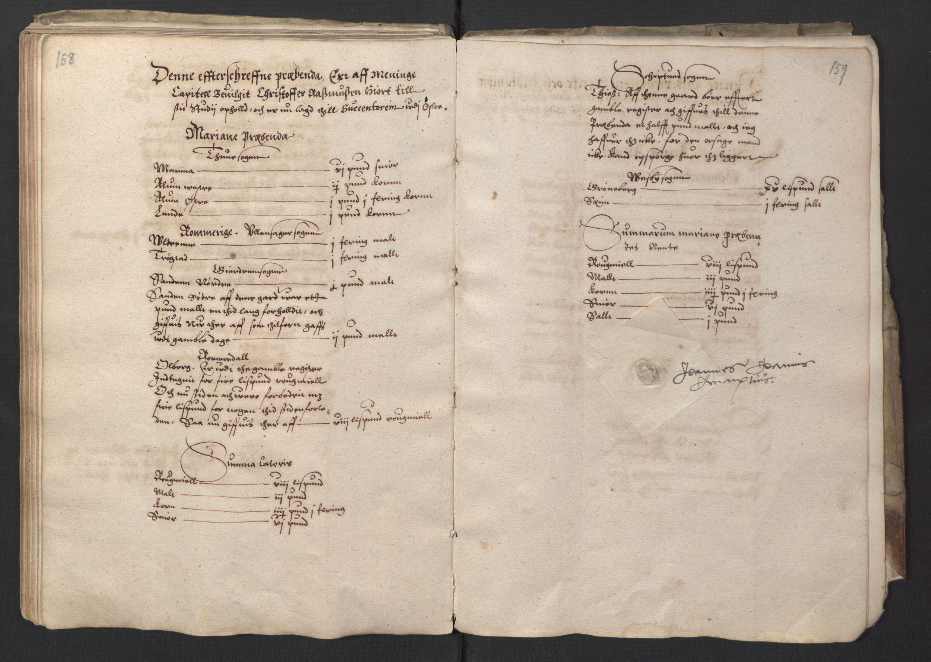 RA, Stattholderembetet 1572-1771, Ek/L0001: Jordebøker før 1624 og til utligning av garnisonsskatt 1624-1626:, 1595, s. 158-159