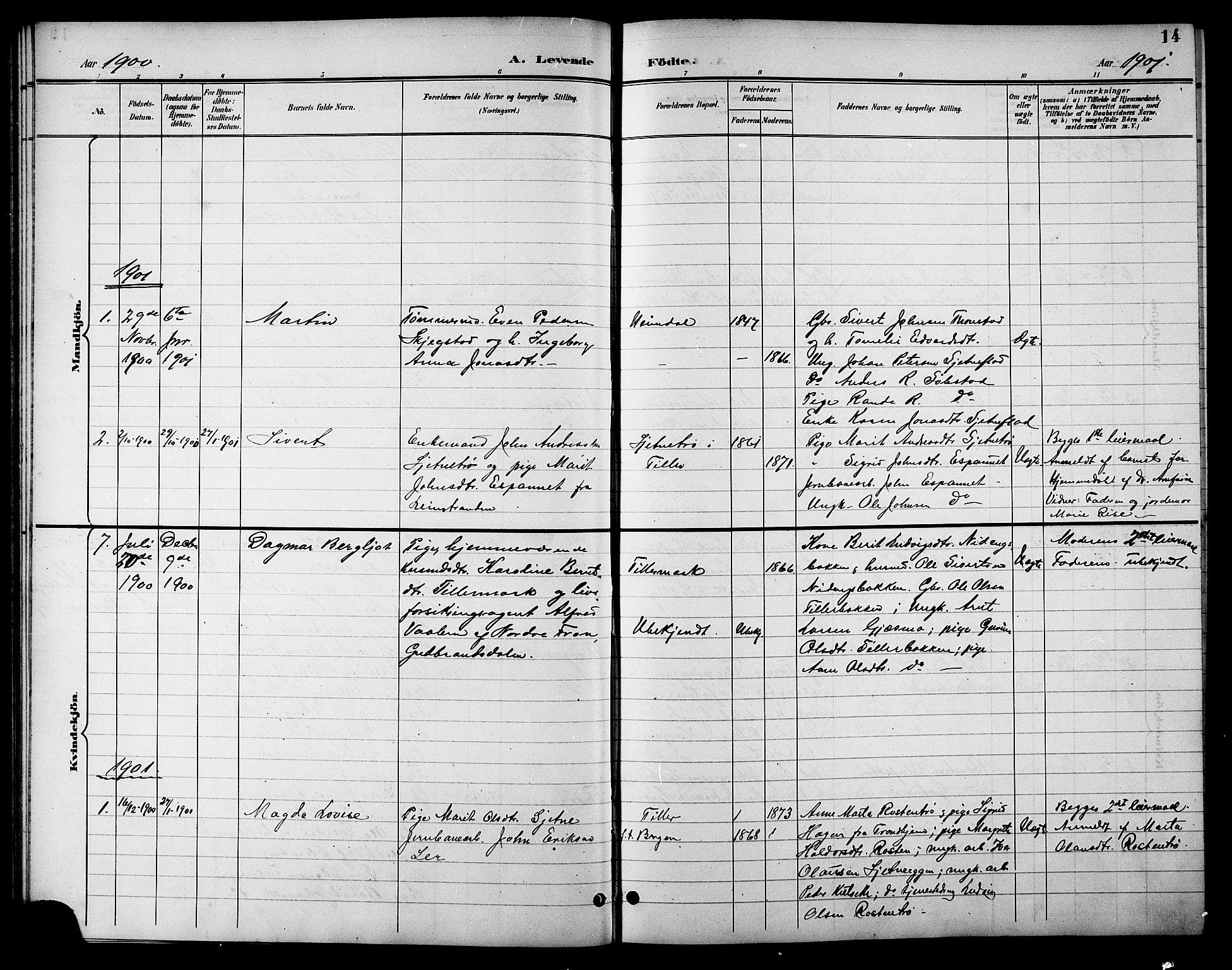 SAT, Ministerialprotokoller, klokkerbøker og fødselsregistre - Sør-Trøndelag, 621/L0460: Klokkerbok nr. 621C03, 1896-1914, s. 14
