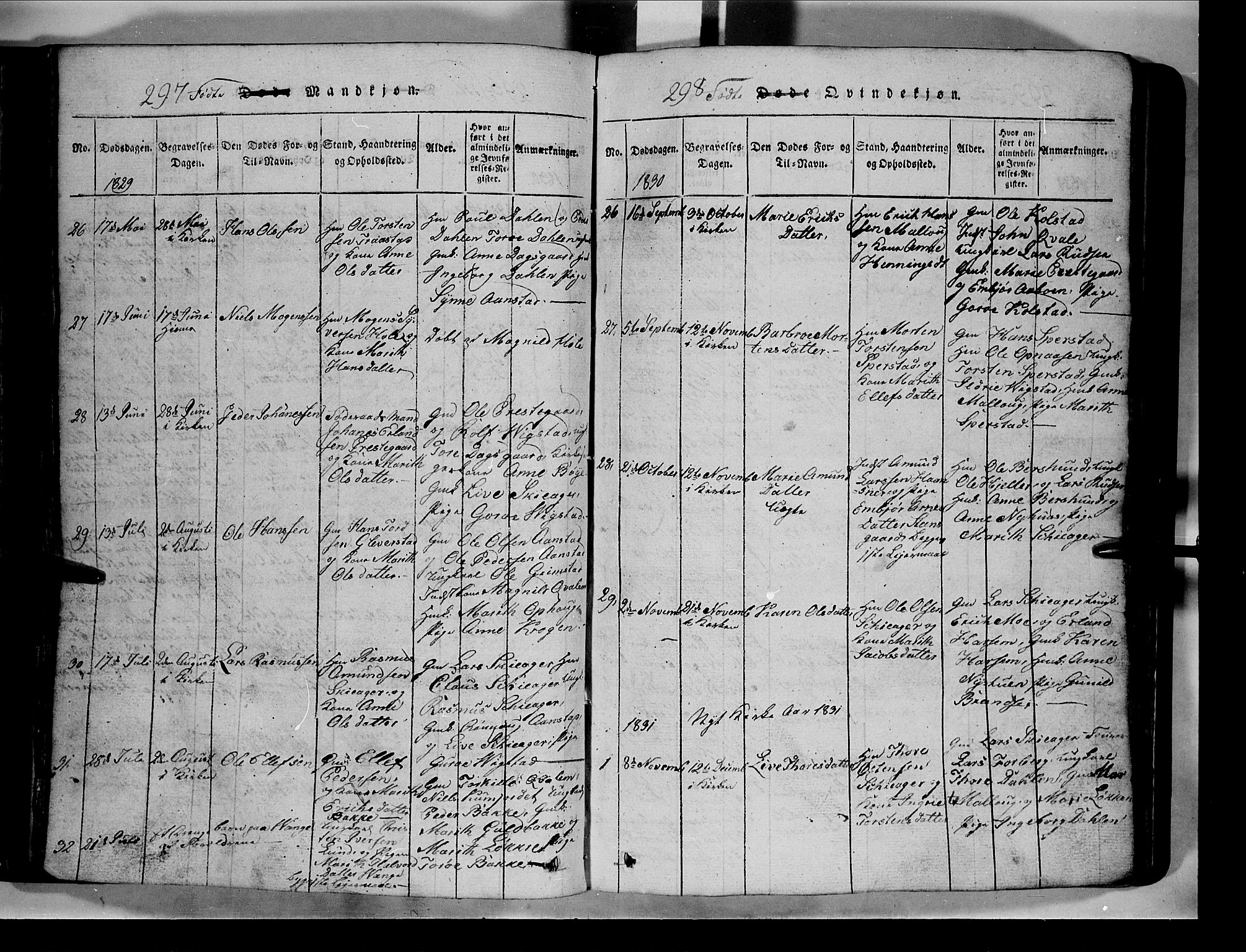 SAH, Lom prestekontor, L/L0003: Klokkerbok nr. 3, 1815-1844, s. 297-298