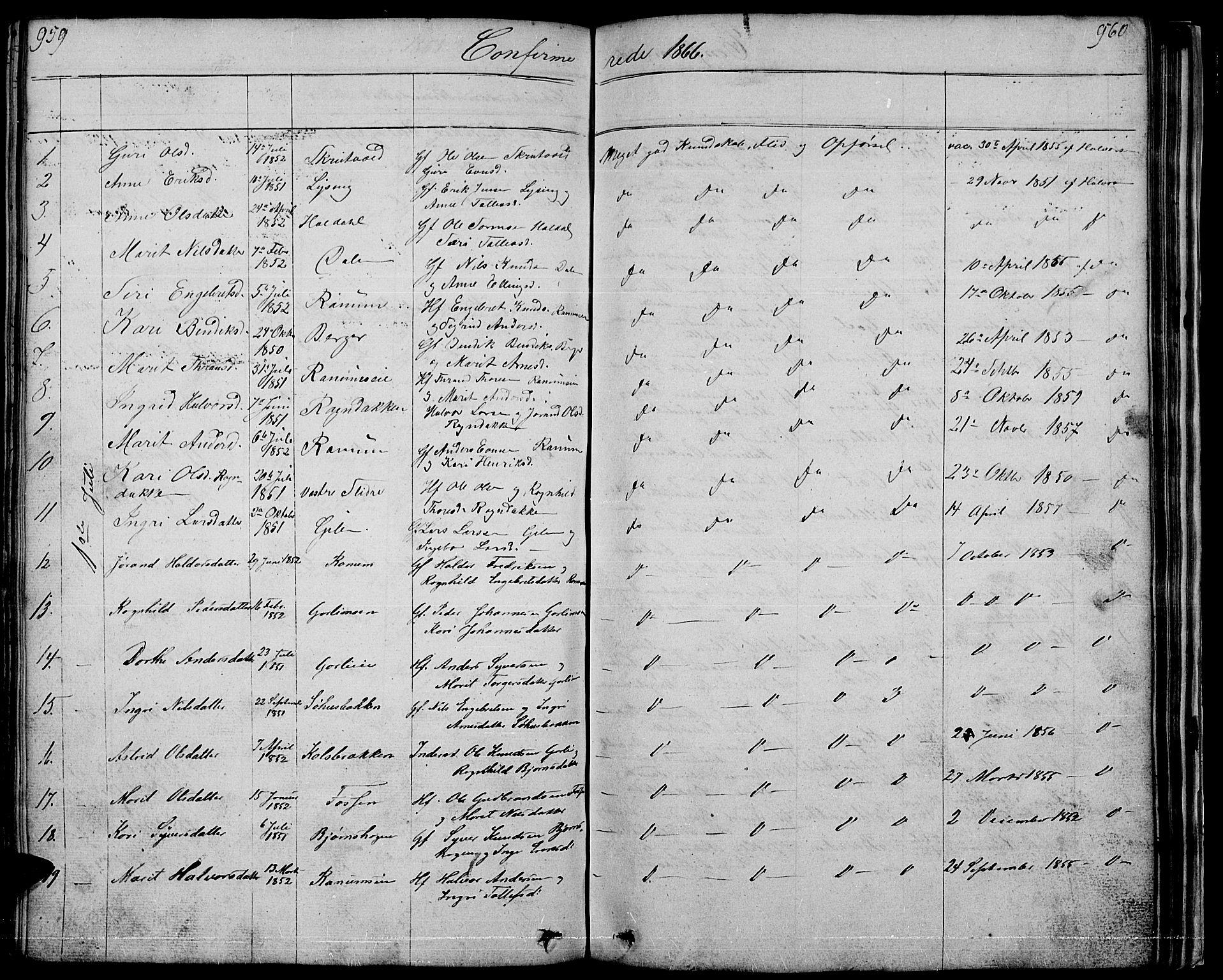 SAH, Nord-Aurdal prestekontor, Klokkerbok nr. 1, 1834-1887, s. 959-960