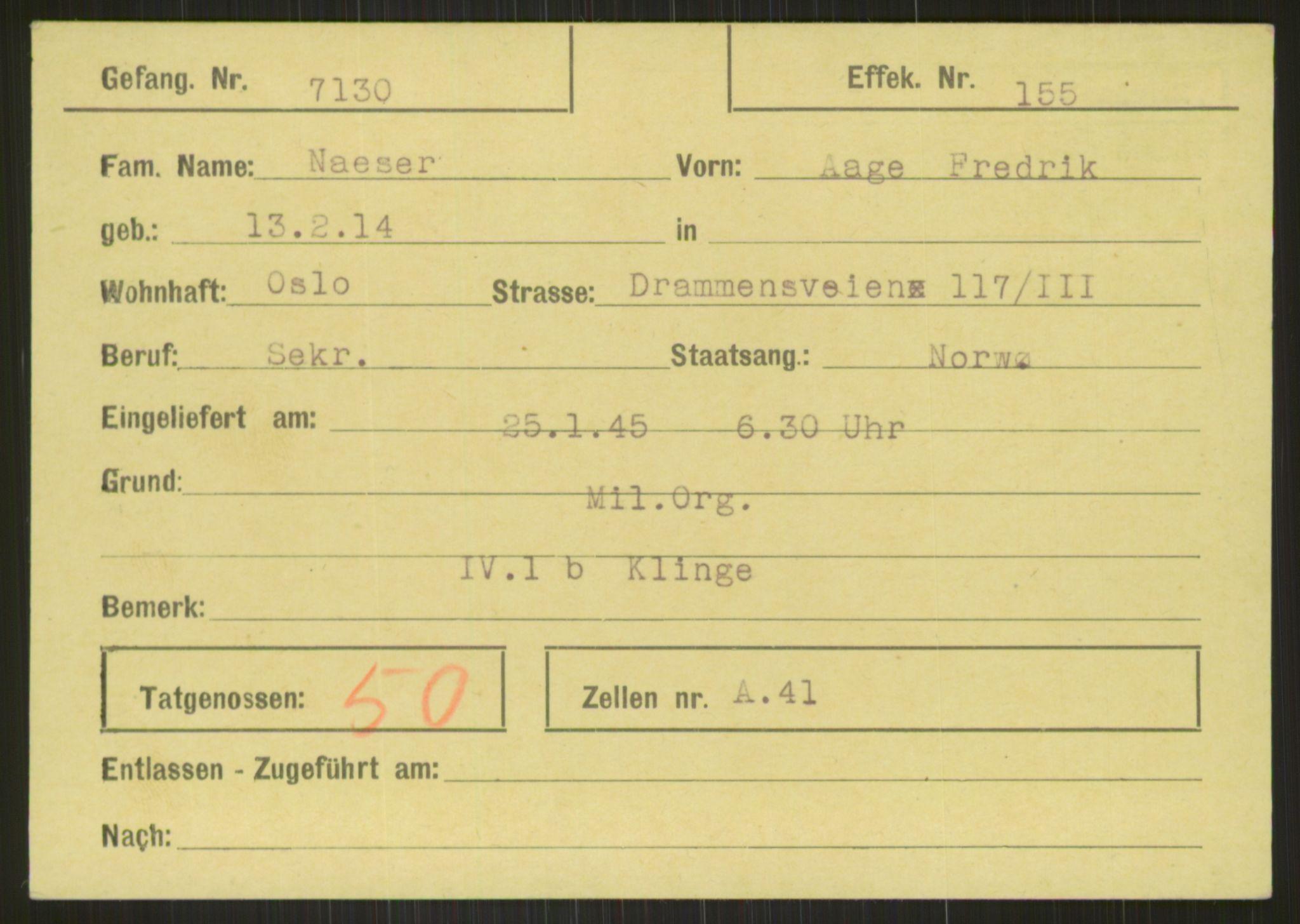RA, Befehlshaber der Sicherheitspolizei und des SD, E/Ea/Eab/L0008: Register over norske fanger i Møllergata 19 ordnet etter fangenummer: 7130-7531 + 7474, 1940-1945