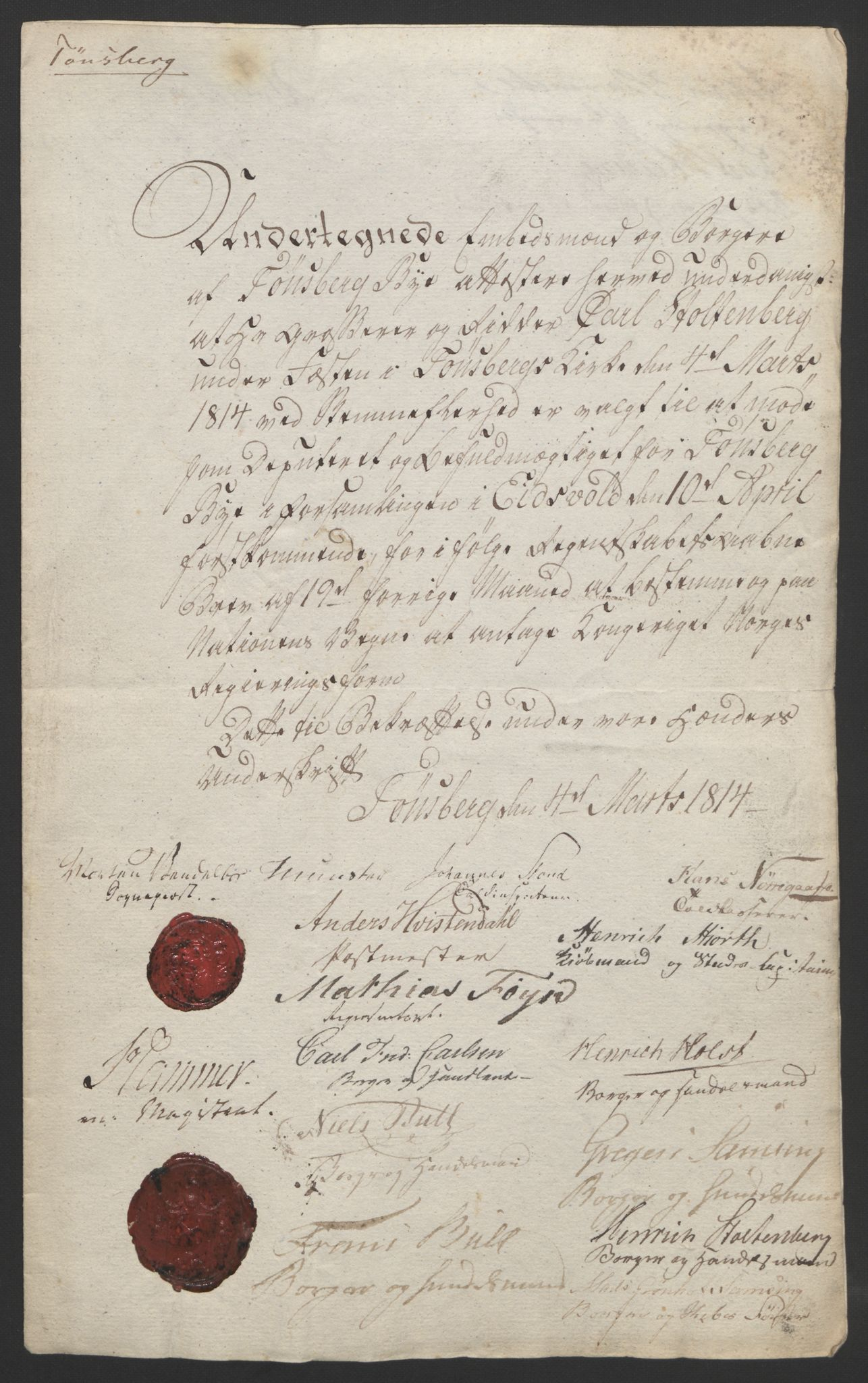 RA, Statsrådssekretariatet, D/Db/L0007: Fullmakter for Eidsvollsrepresentantene i 1814. , 1814, s. 39