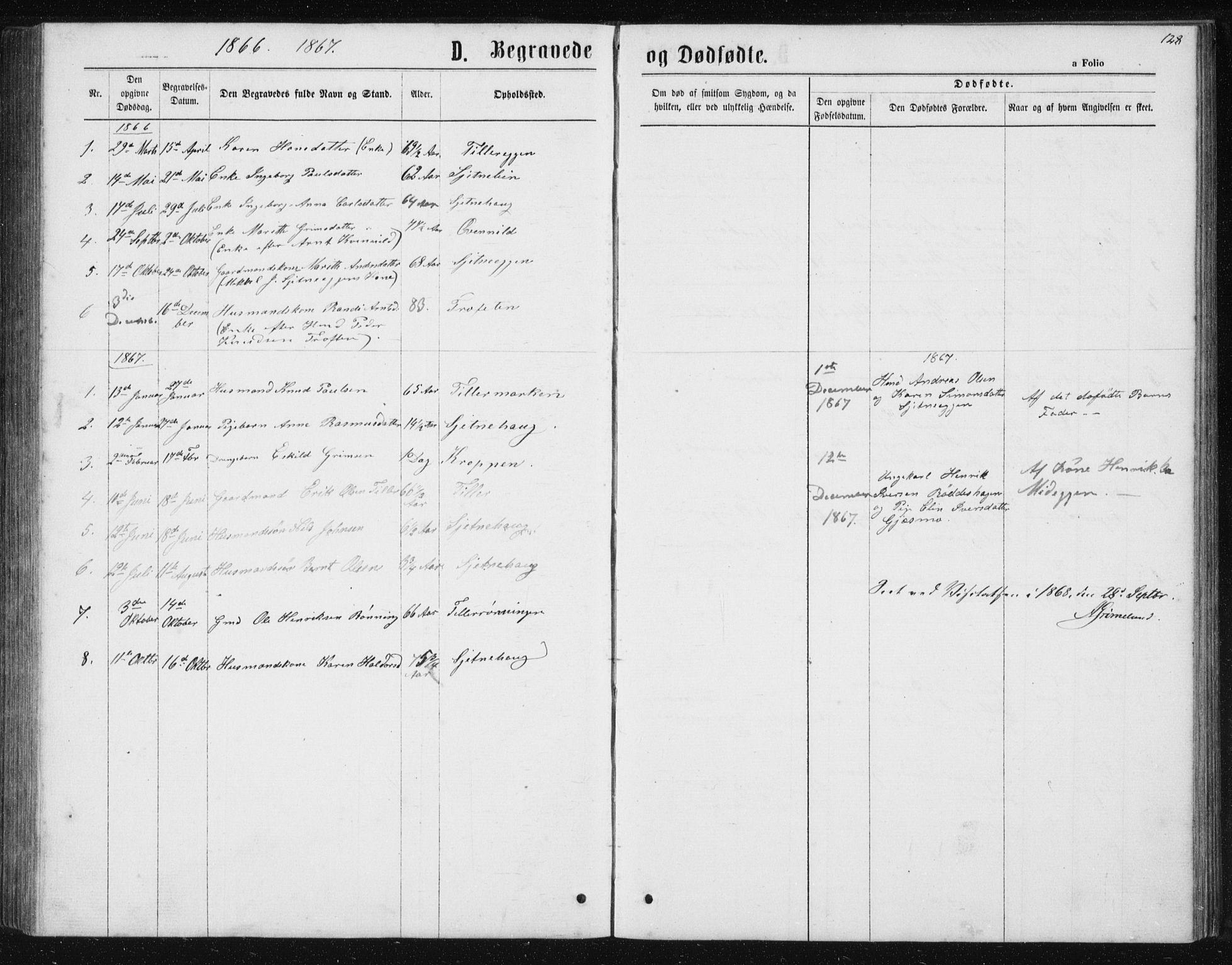 SAT, Ministerialprotokoller, klokkerbøker og fødselsregistre - Sør-Trøndelag, 621/L0459: Klokkerbok nr. 621C02, 1866-1895, s. 128