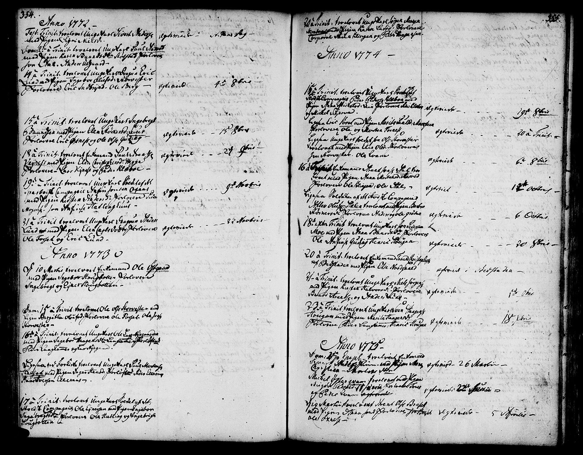 SAT, Ministerialprotokoller, klokkerbøker og fødselsregistre - Nord-Trøndelag, 746/L0440: Ministerialbok nr. 746A02, 1760-1815, s. 354-355