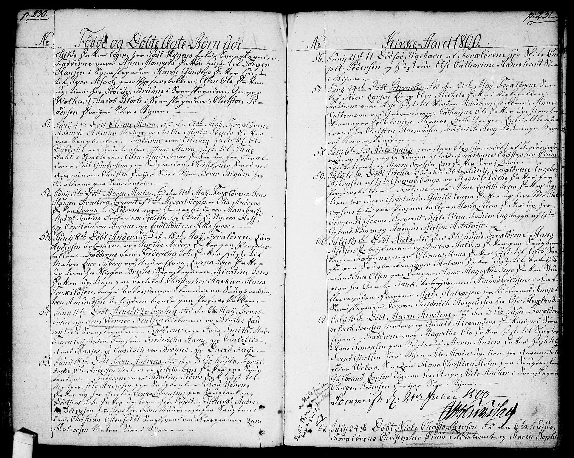 SAO, Halden prestekontor Kirkebøker, F/Fa/L0002: Ministerialbok nr. I 2, 1792-1812, s. 230-231