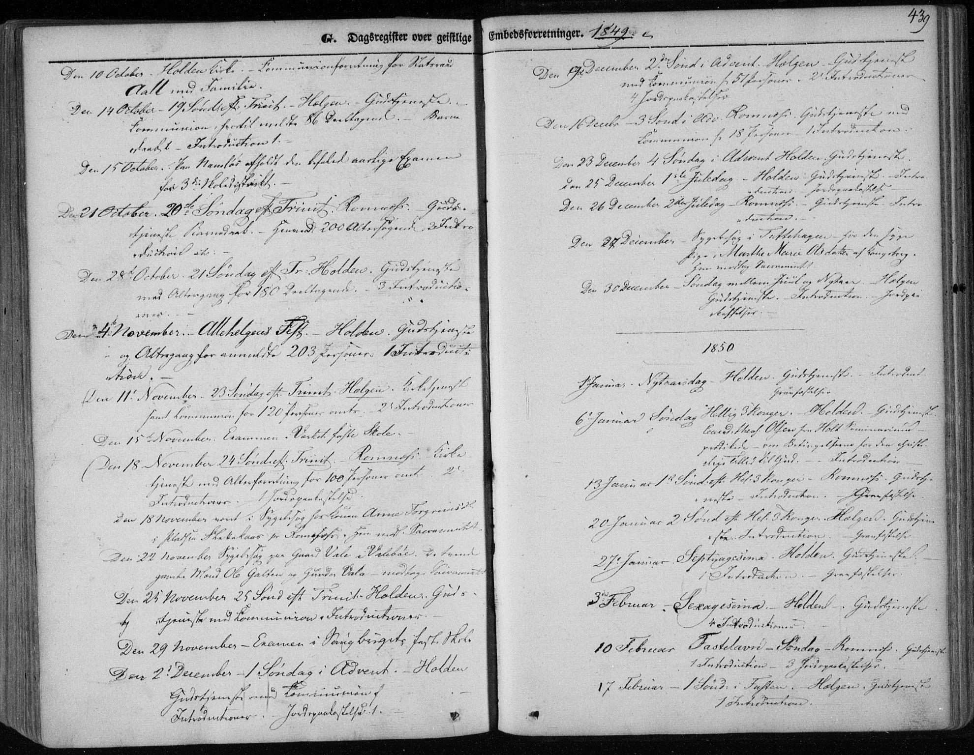 SAKO, Holla kirkebøker, F/Fa/L0005: Ministerialbok nr. 5, 1849-1860, s. 439