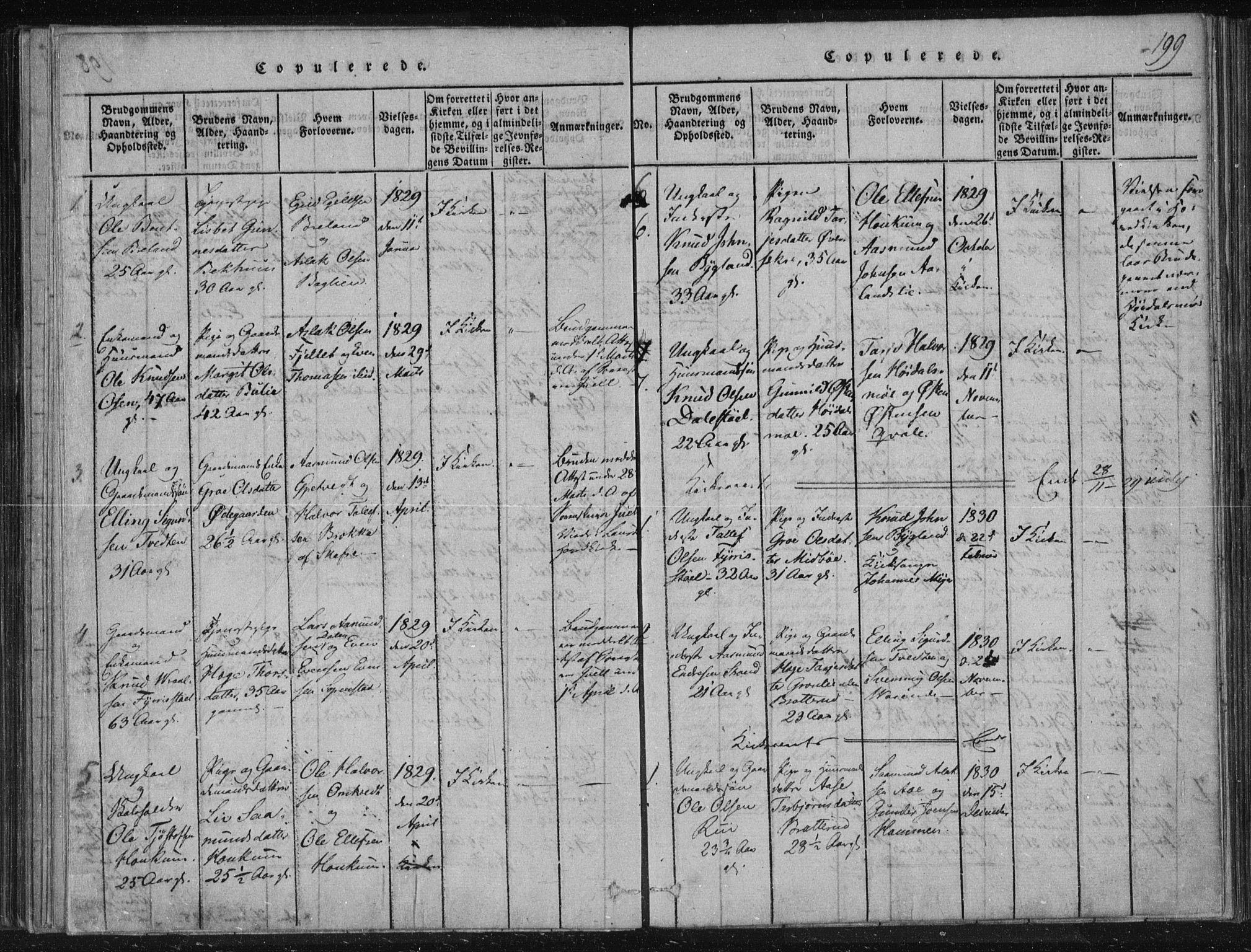 SAKO, Lårdal kirkebøker, F/Fc/L0001: Ministerialbok nr. III 1, 1815-1860, s. 199