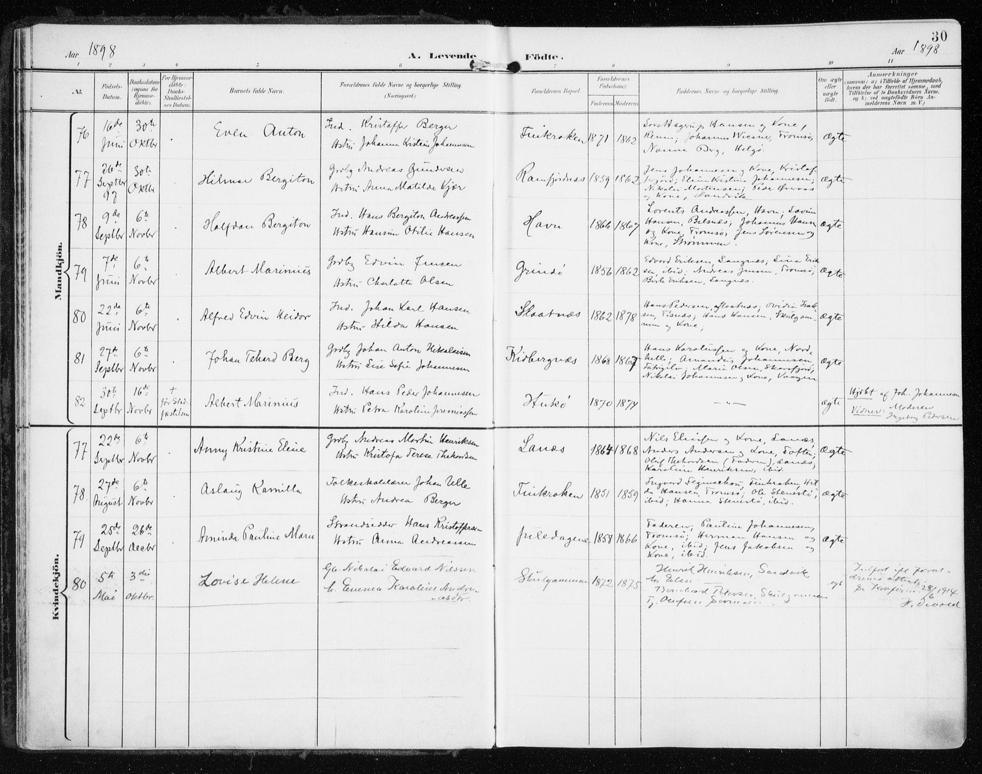 SATØ, Tromsøysund sokneprestkontor, G/Ga/L0006kirke: Ministerialbok nr. 6, 1897-1906, s. 30