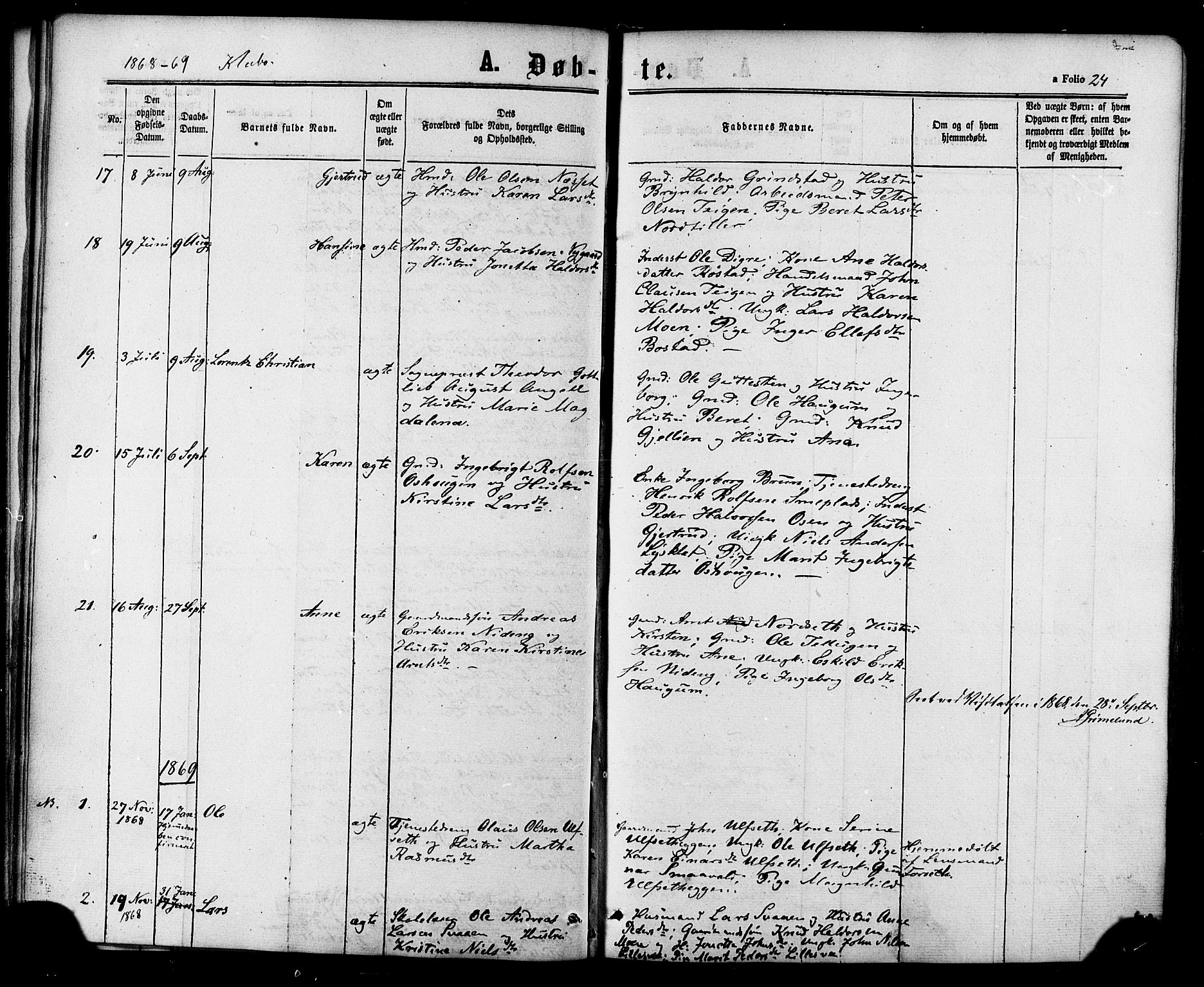 SAT, Ministerialprotokoller, klokkerbøker og fødselsregistre - Sør-Trøndelag, 618/L0442: Ministerialbok nr. 618A06 /1, 1863-1879, s. 24