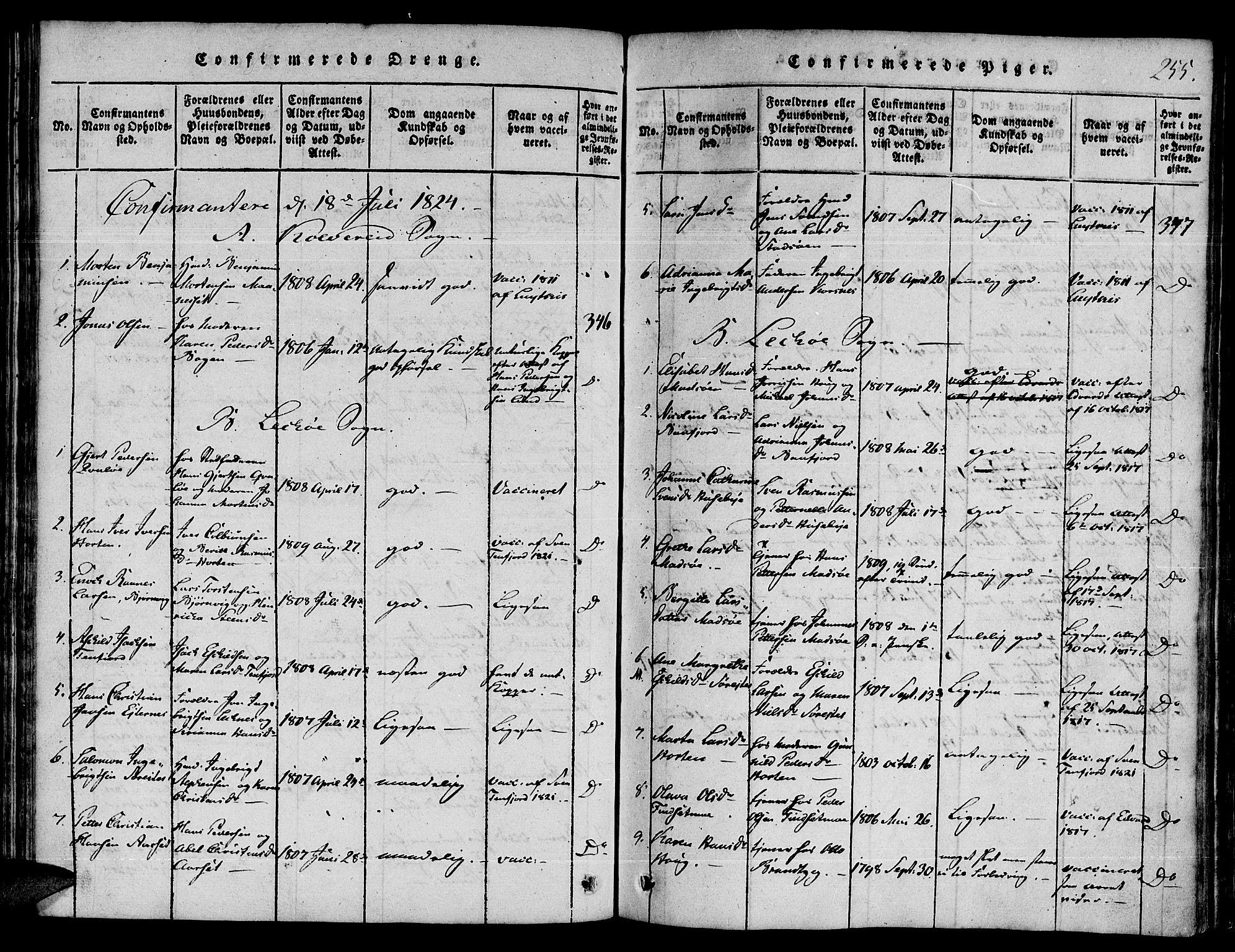 SAT, Ministerialprotokoller, klokkerbøker og fødselsregistre - Nord-Trøndelag, 780/L0636: Ministerialbok nr. 780A03 /1, 1815-1830, s. 255