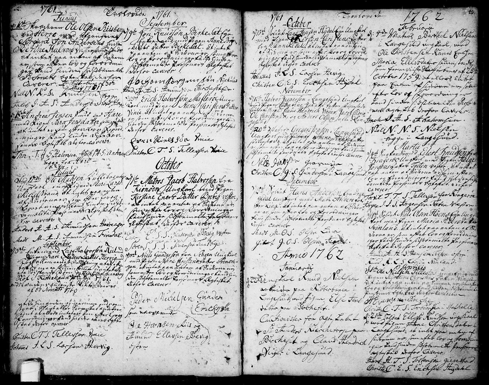 SAKO, Bamble kirkebøker, F/Fa/L0001: Ministerialbok nr. I 1, 1702-1774, s. 42-43