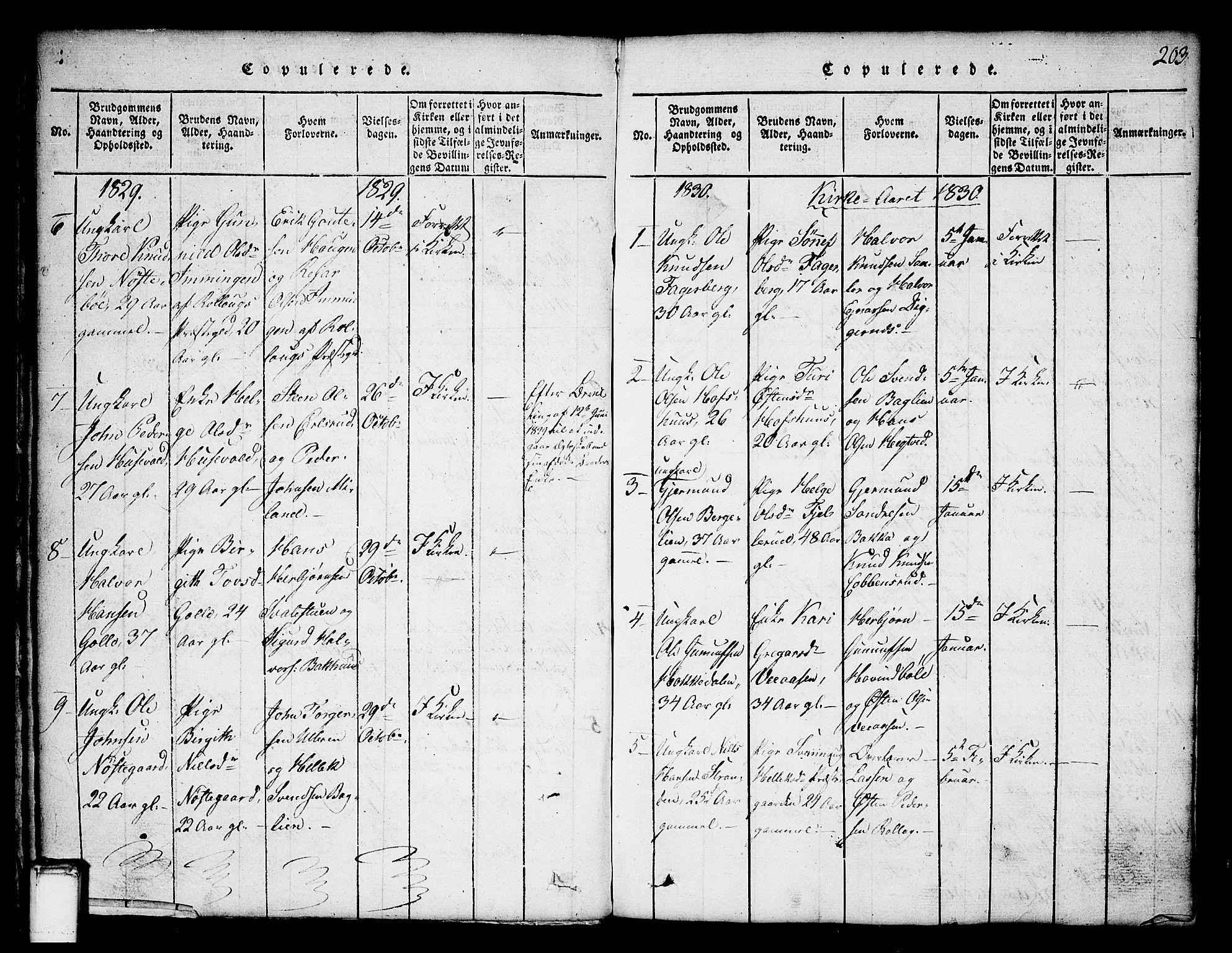 SAKO, Tinn kirkebøker, G/Ga/L0001: Klokkerbok nr. I 1, 1815-1850, s. 203